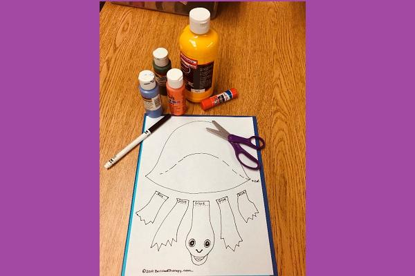Print out of turtle with paint, marker, glue stick, and scissors