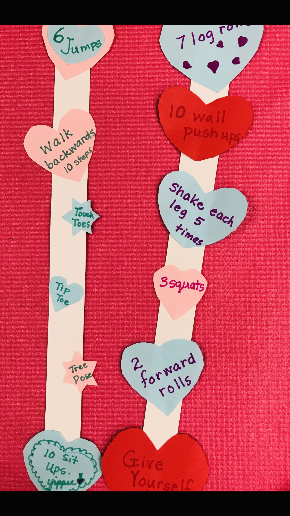 Exercise hearts on paper strips