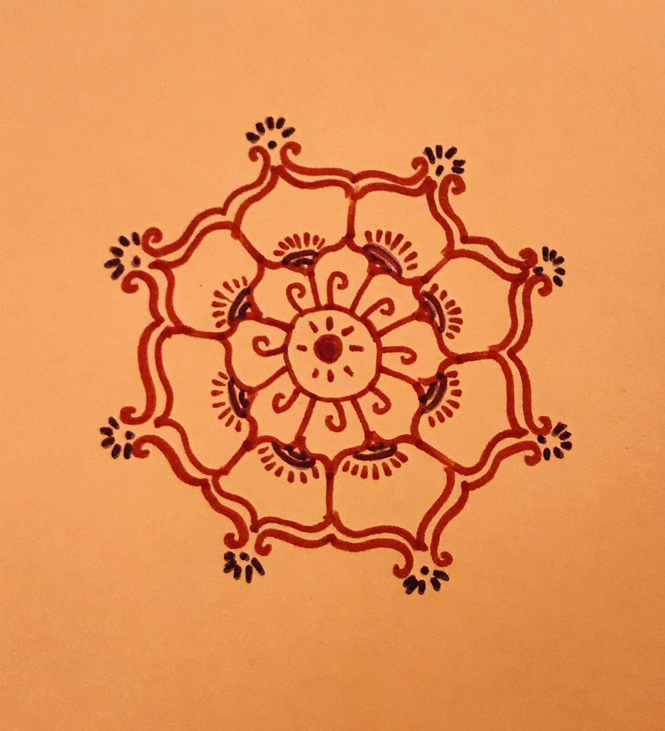 Red mandala draw