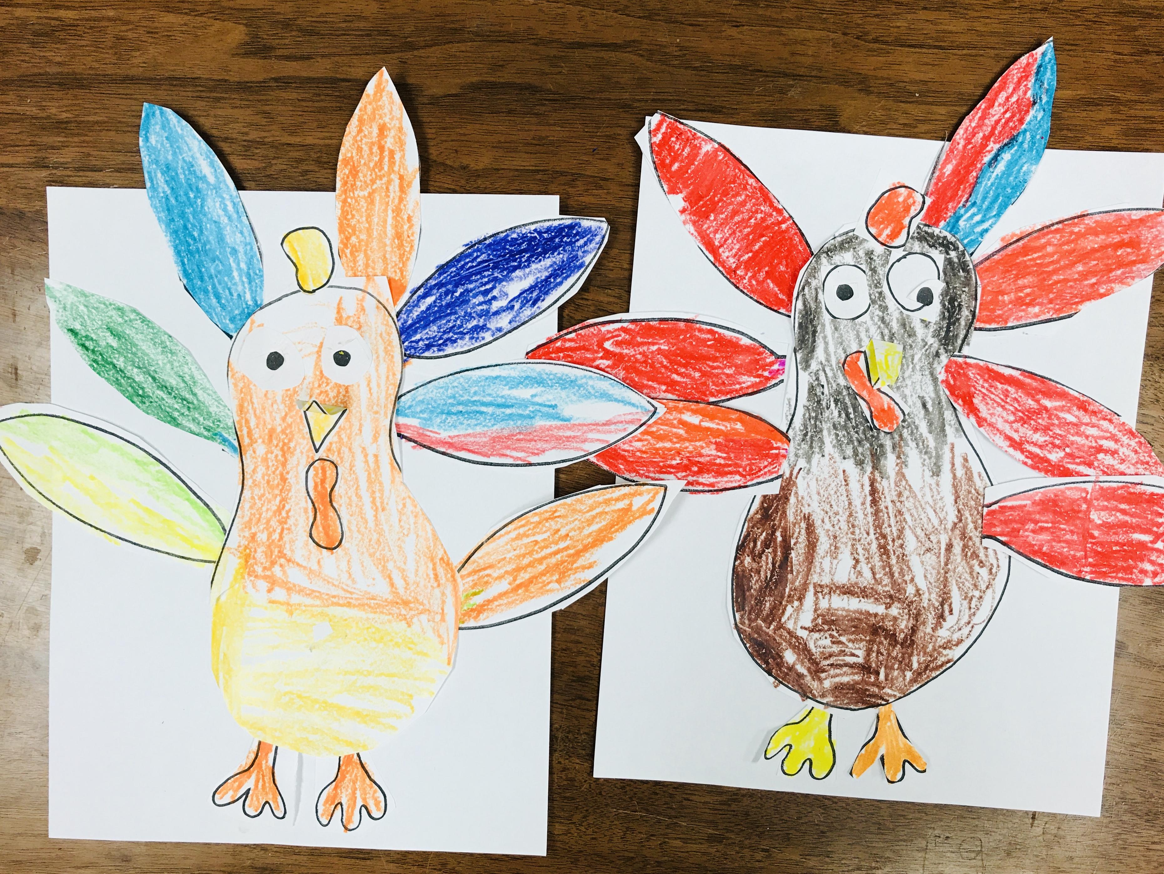 Colorful paper turkeys