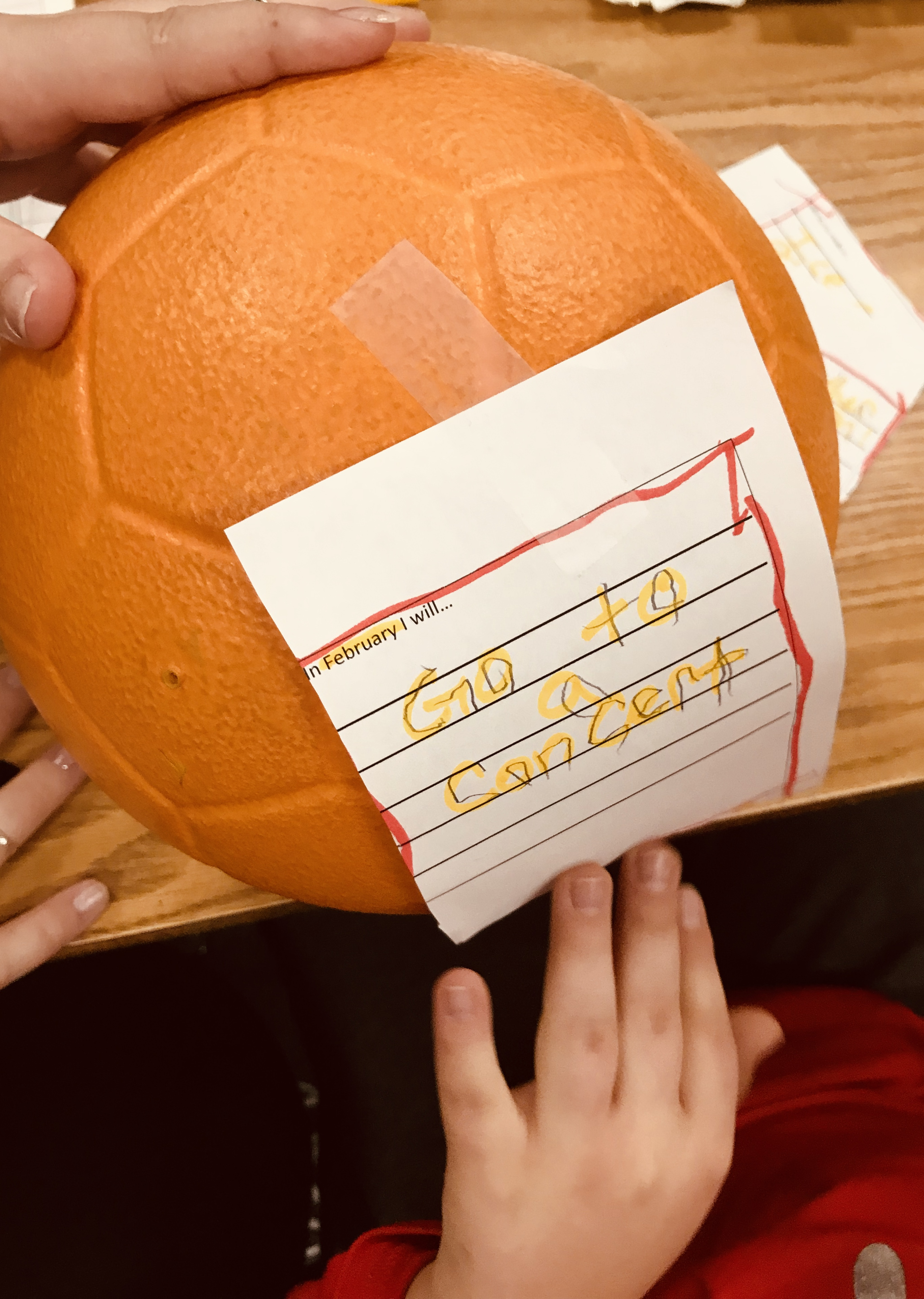 Taped paper on soccer ball
