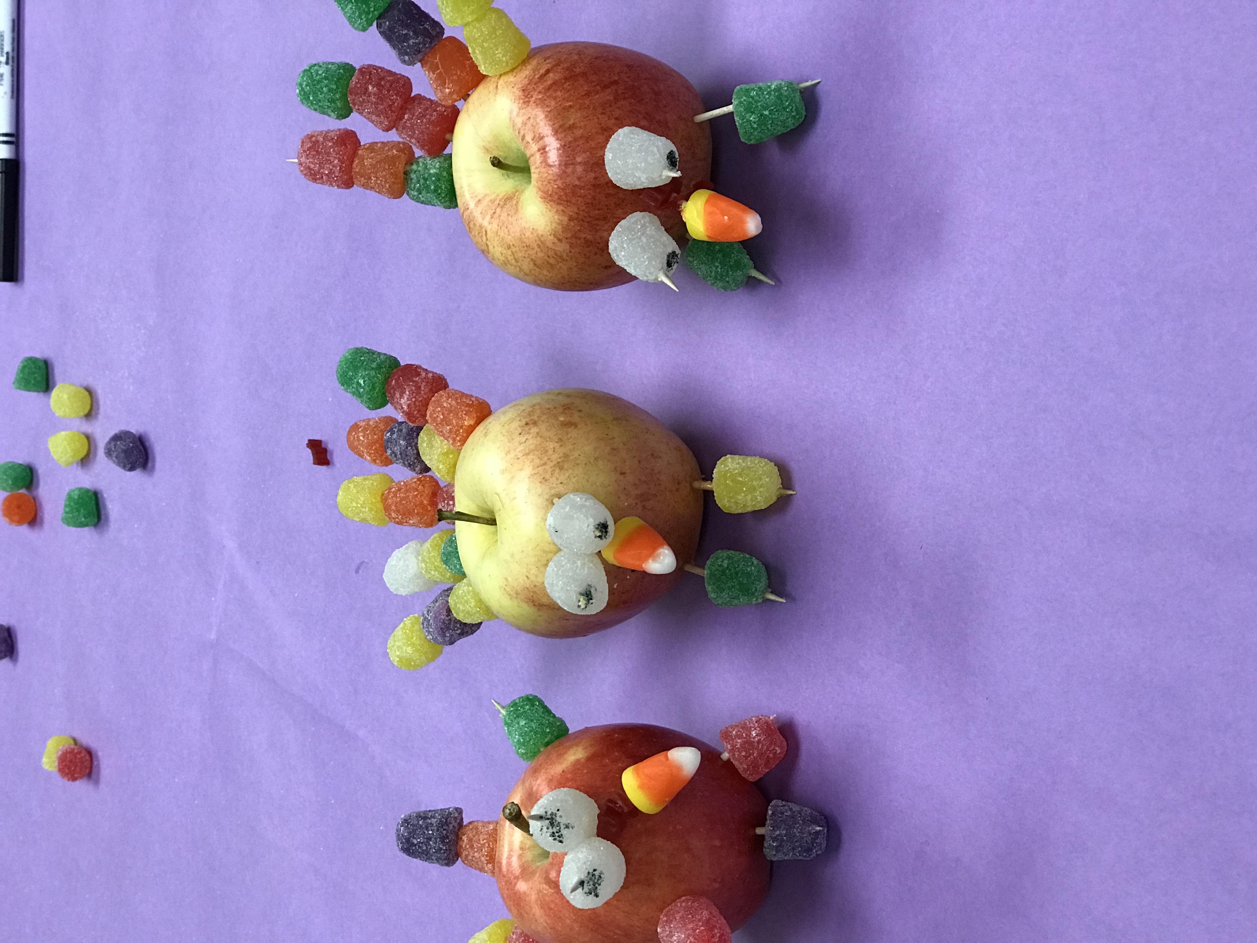 Turkey apples with toothpicks of gumdrops
