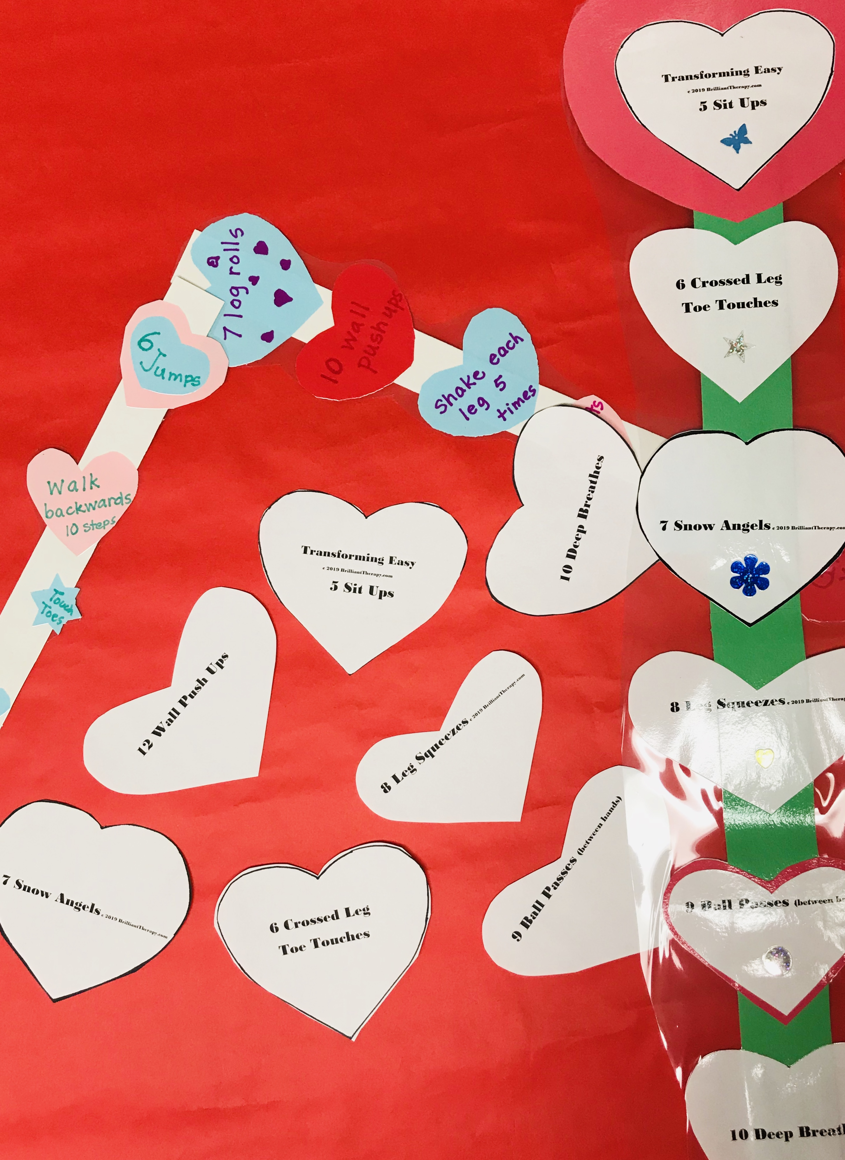 Heart Cut outs with assorted exercises