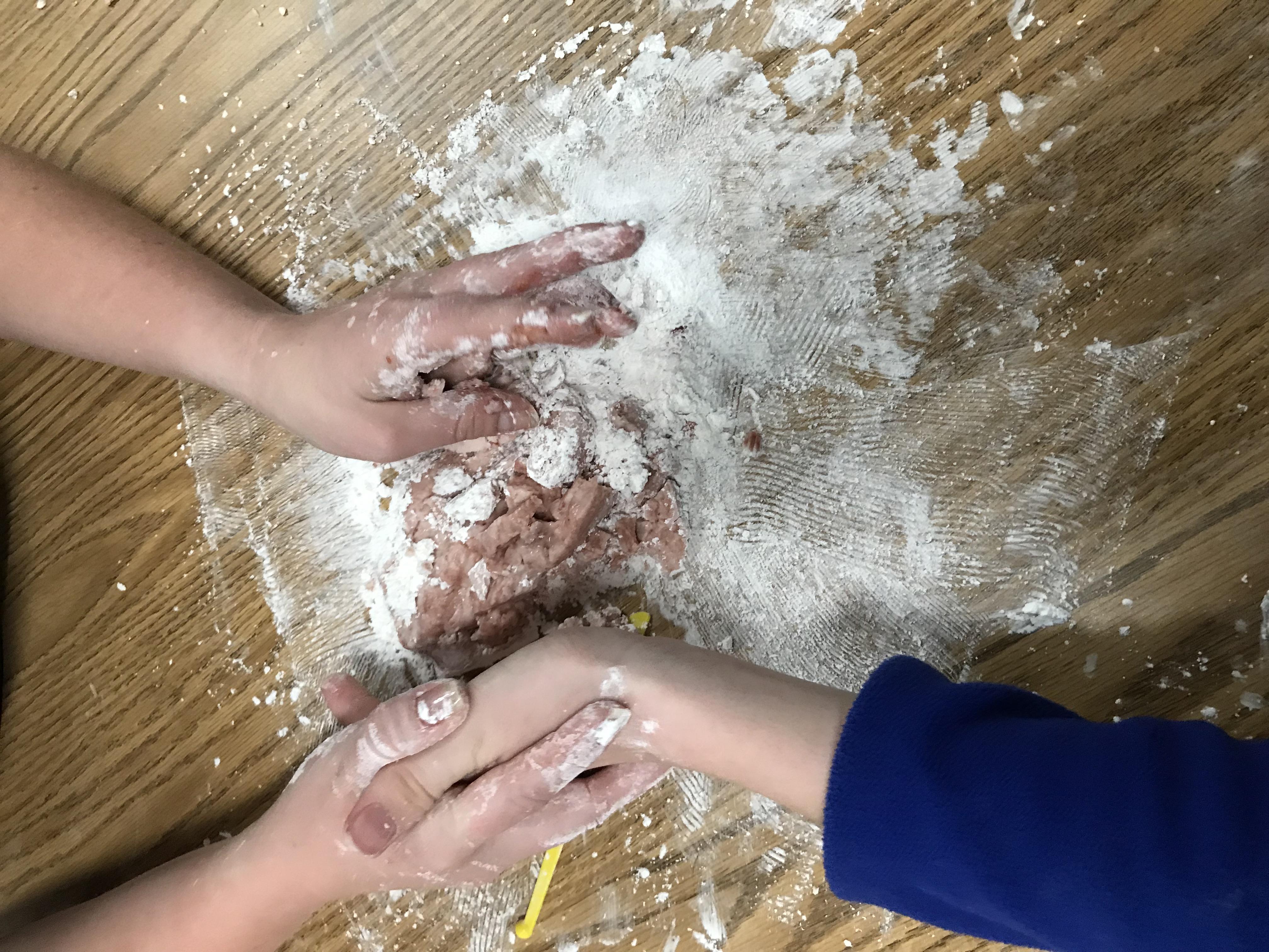 Flour and cranberry dough mixture