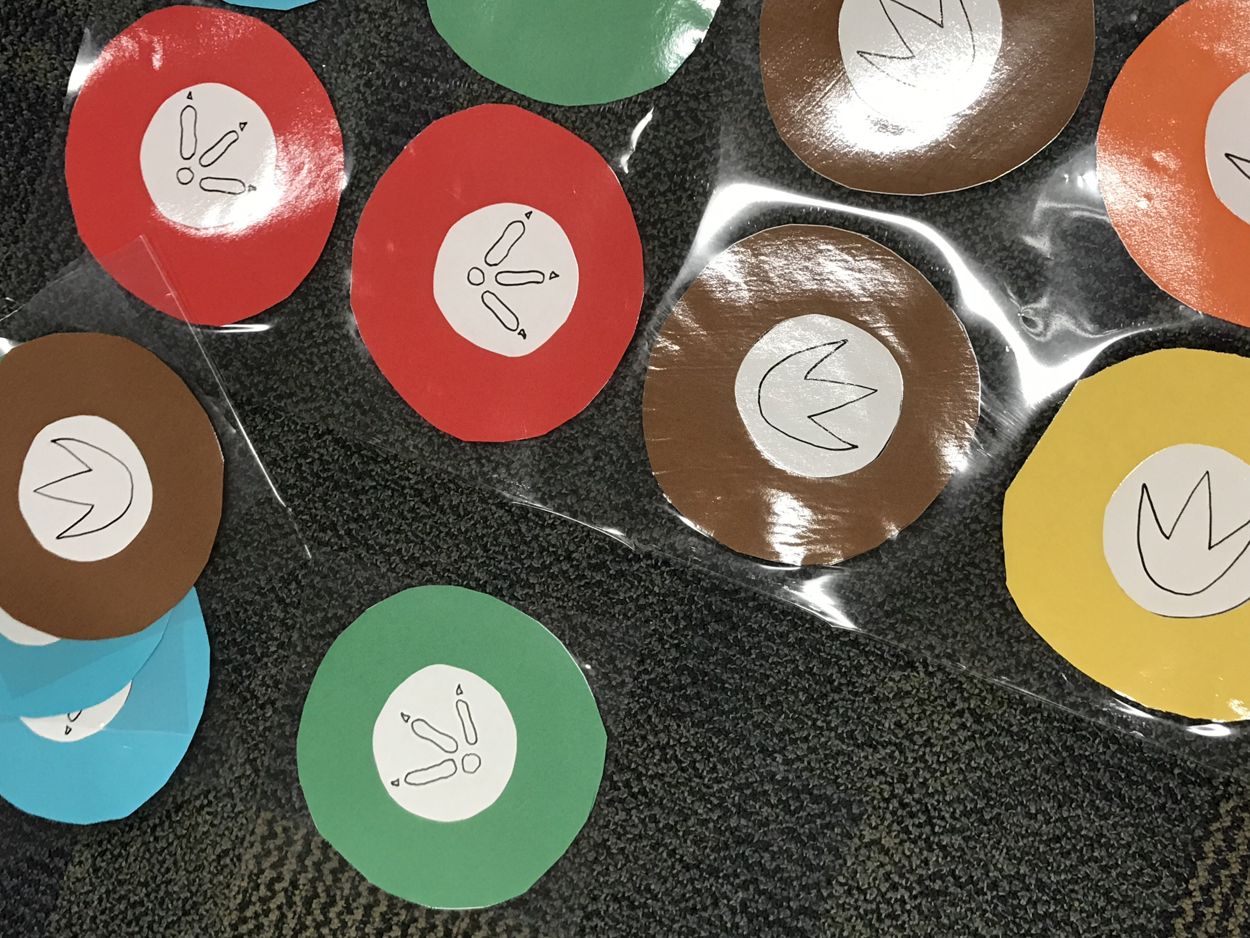 Turkey feet cut outs on colored circles