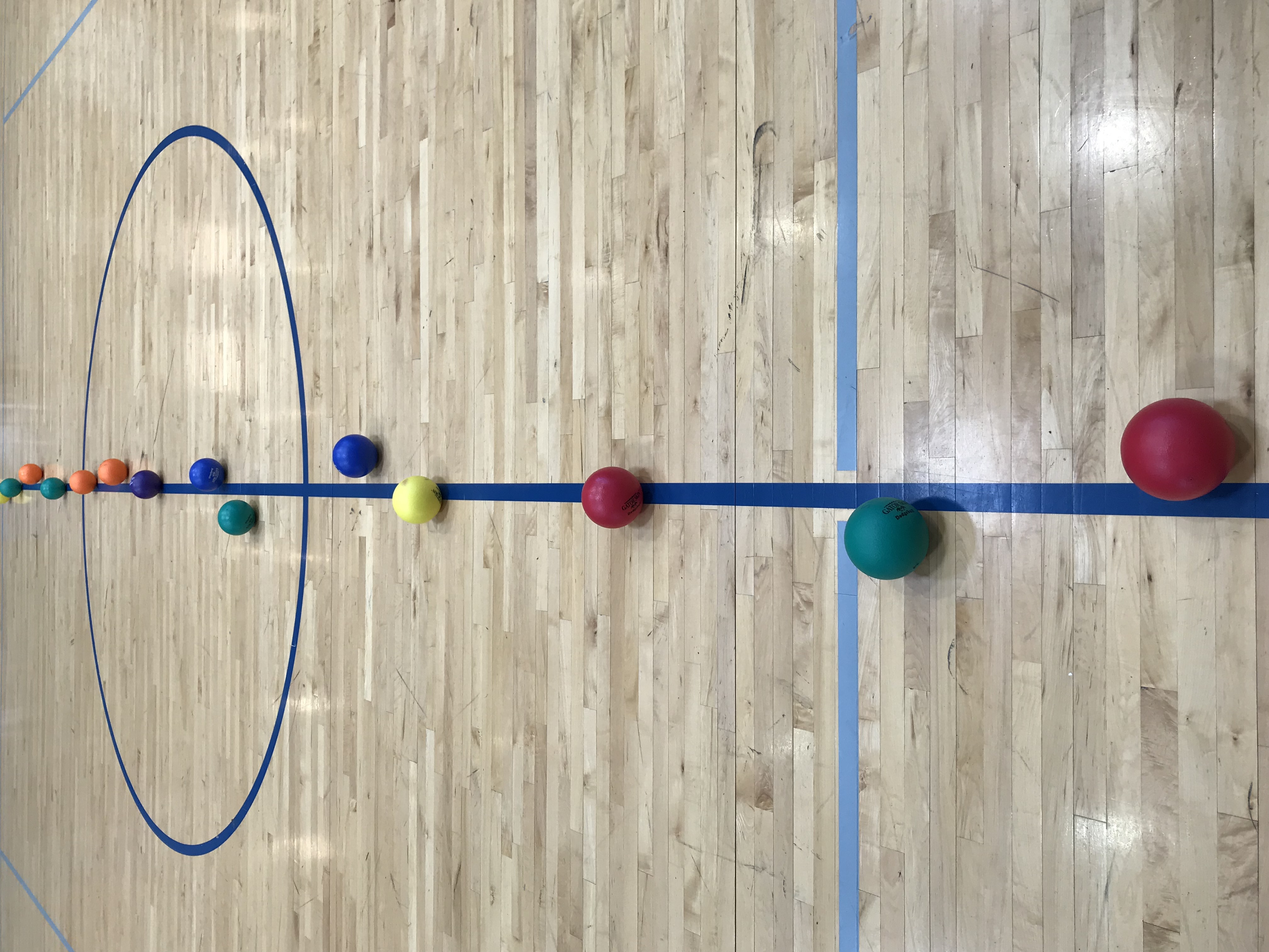 Dodgeballs on middle gym line