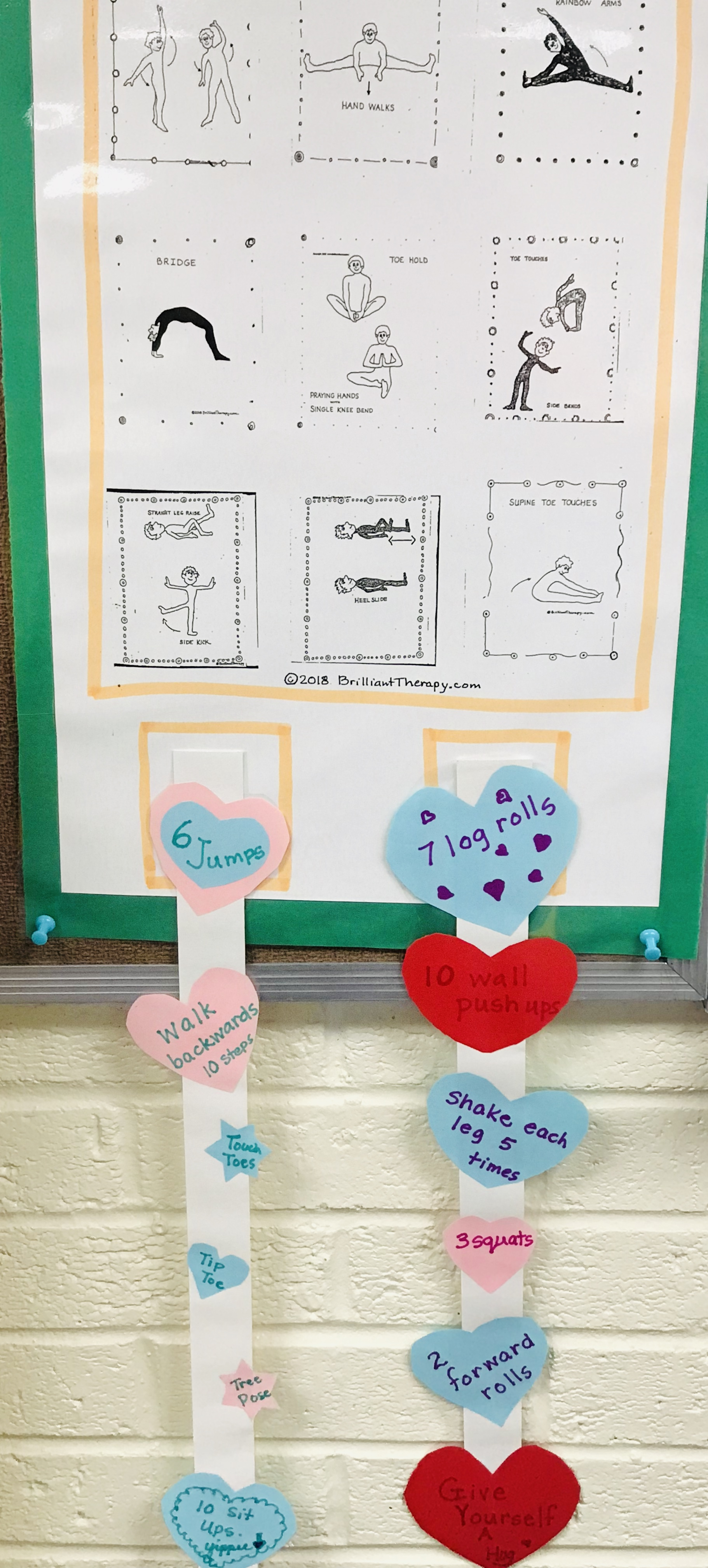 Displayed striped hearts with exercises