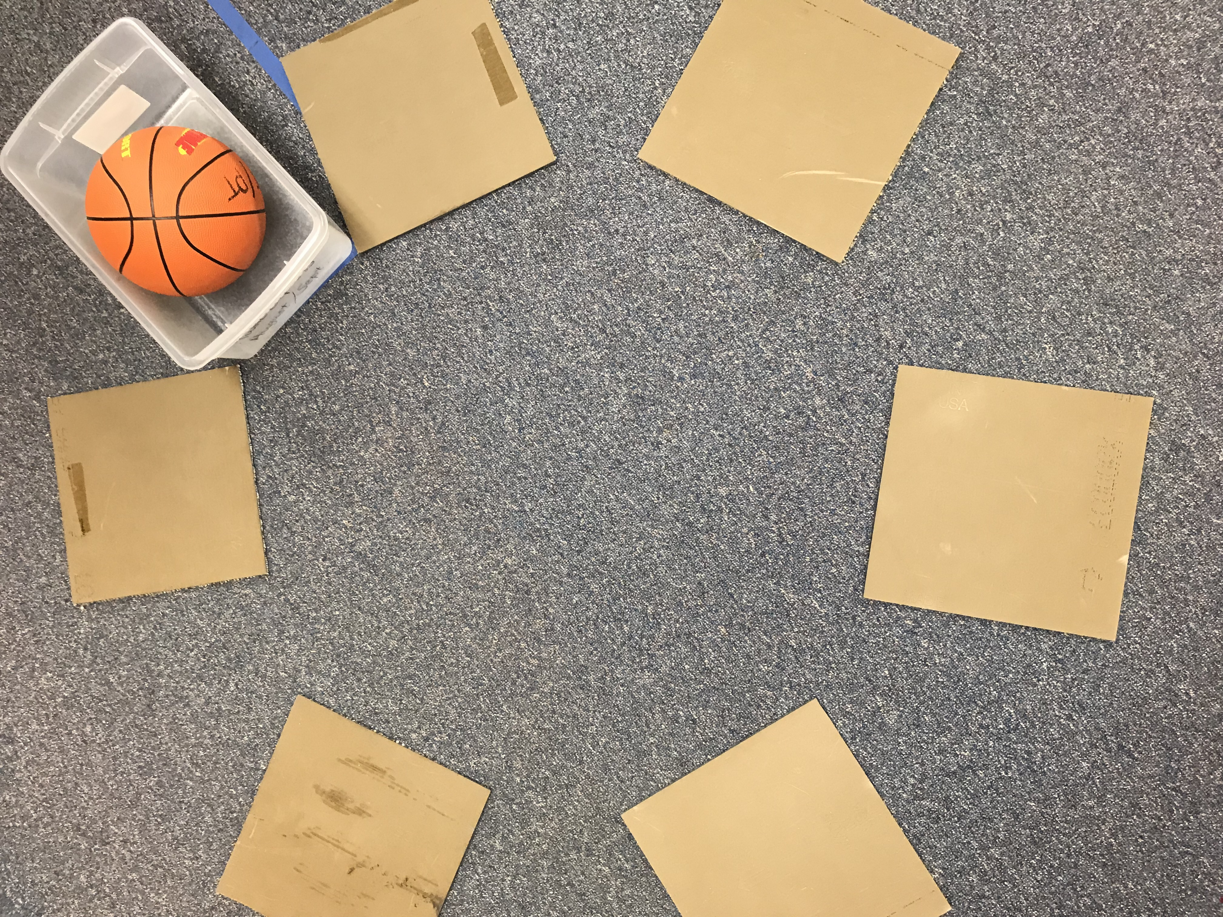 Cardboard squares and a basketball