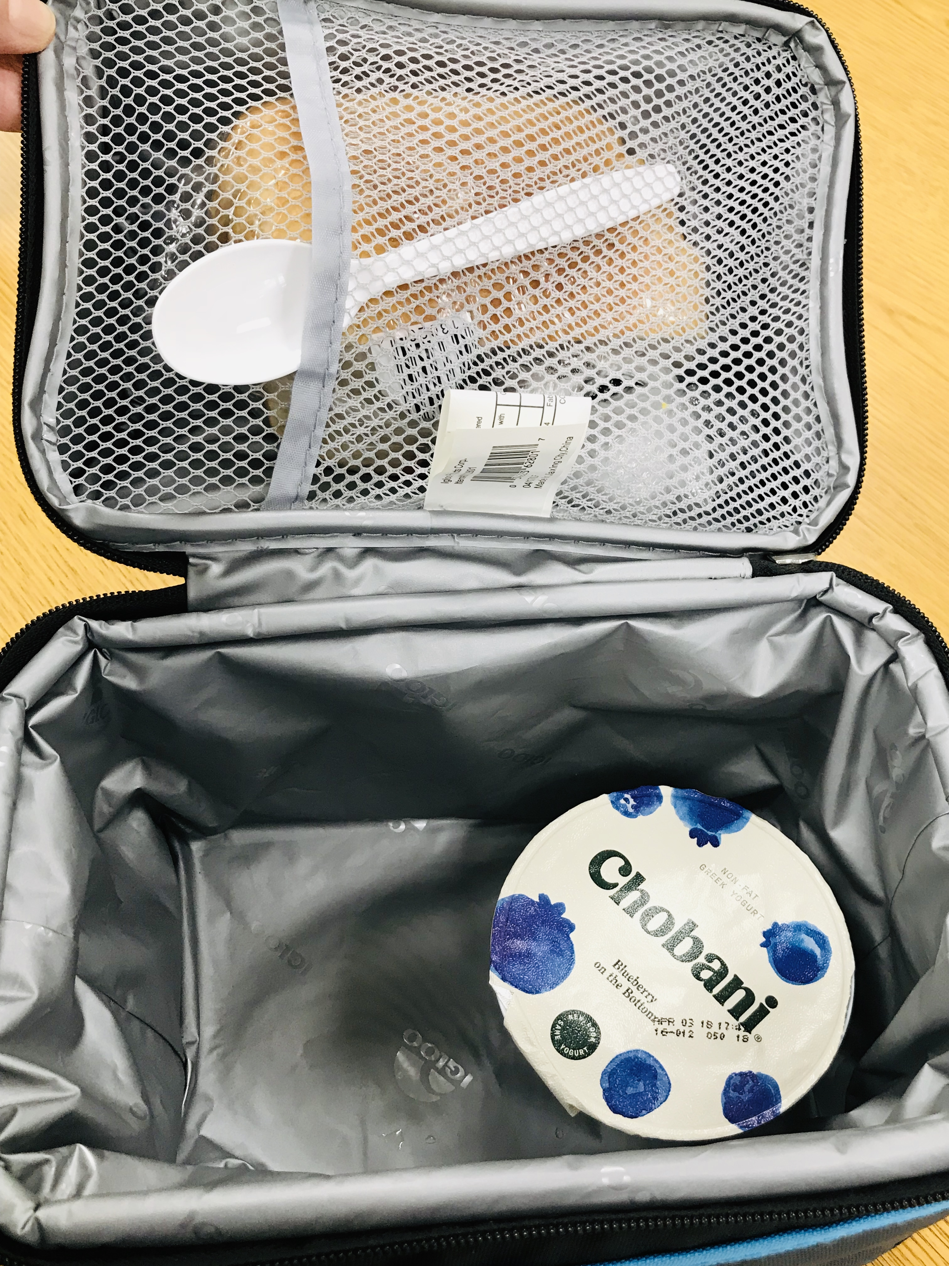 Lunchbox with sandwich and yogurt