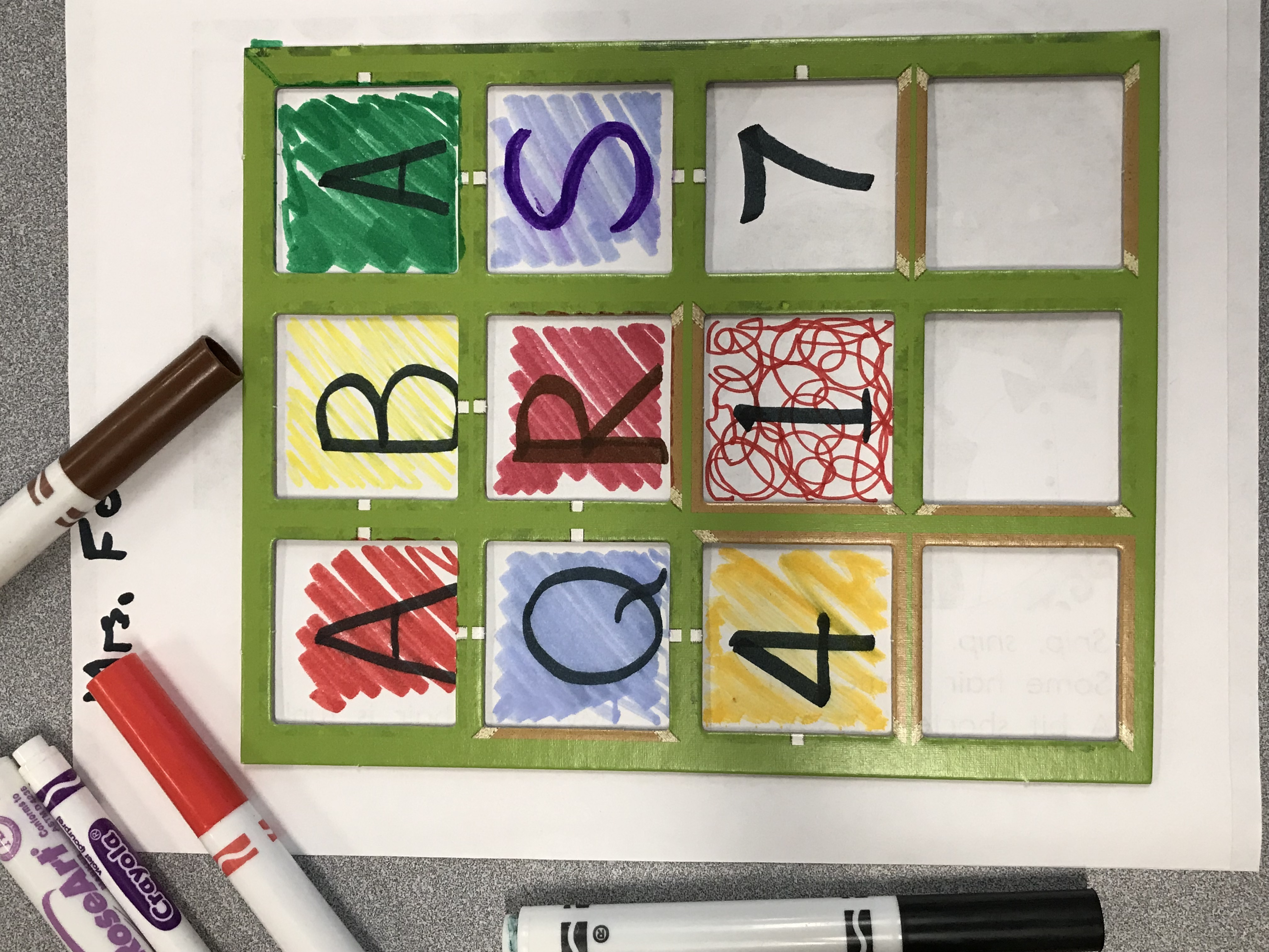 Square template with colorful letters and numbers