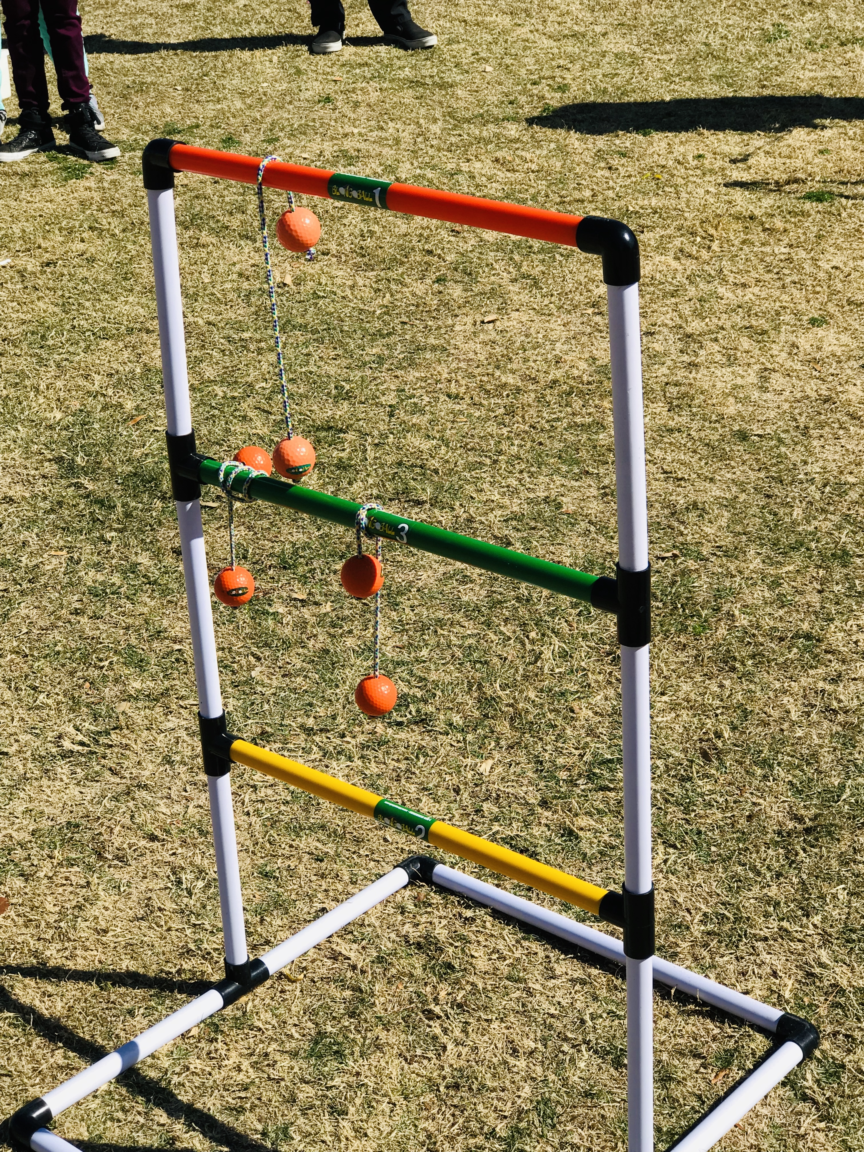 Ladder toss rack and throwable bolas