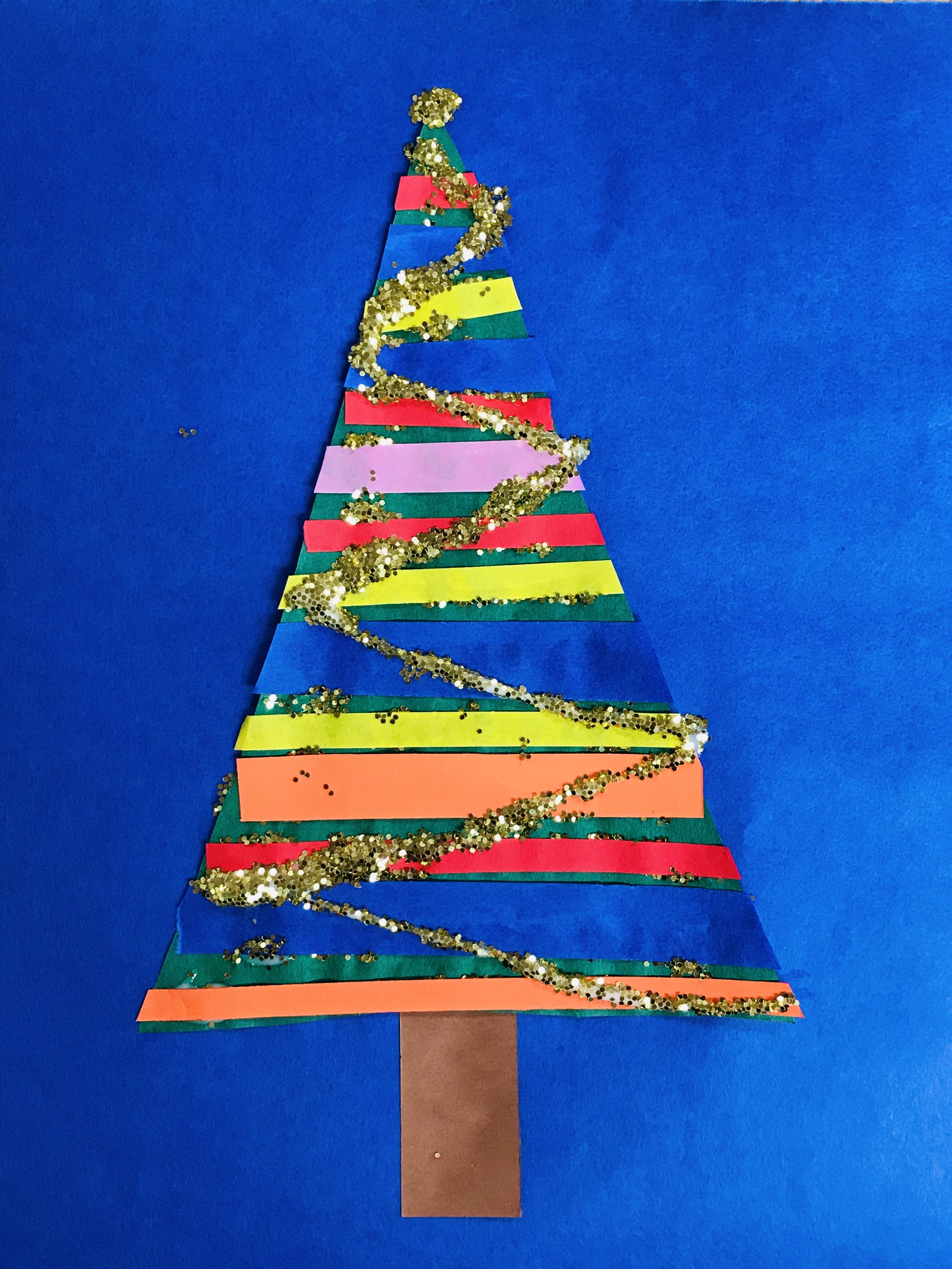 Glittered paper Christmas tree
