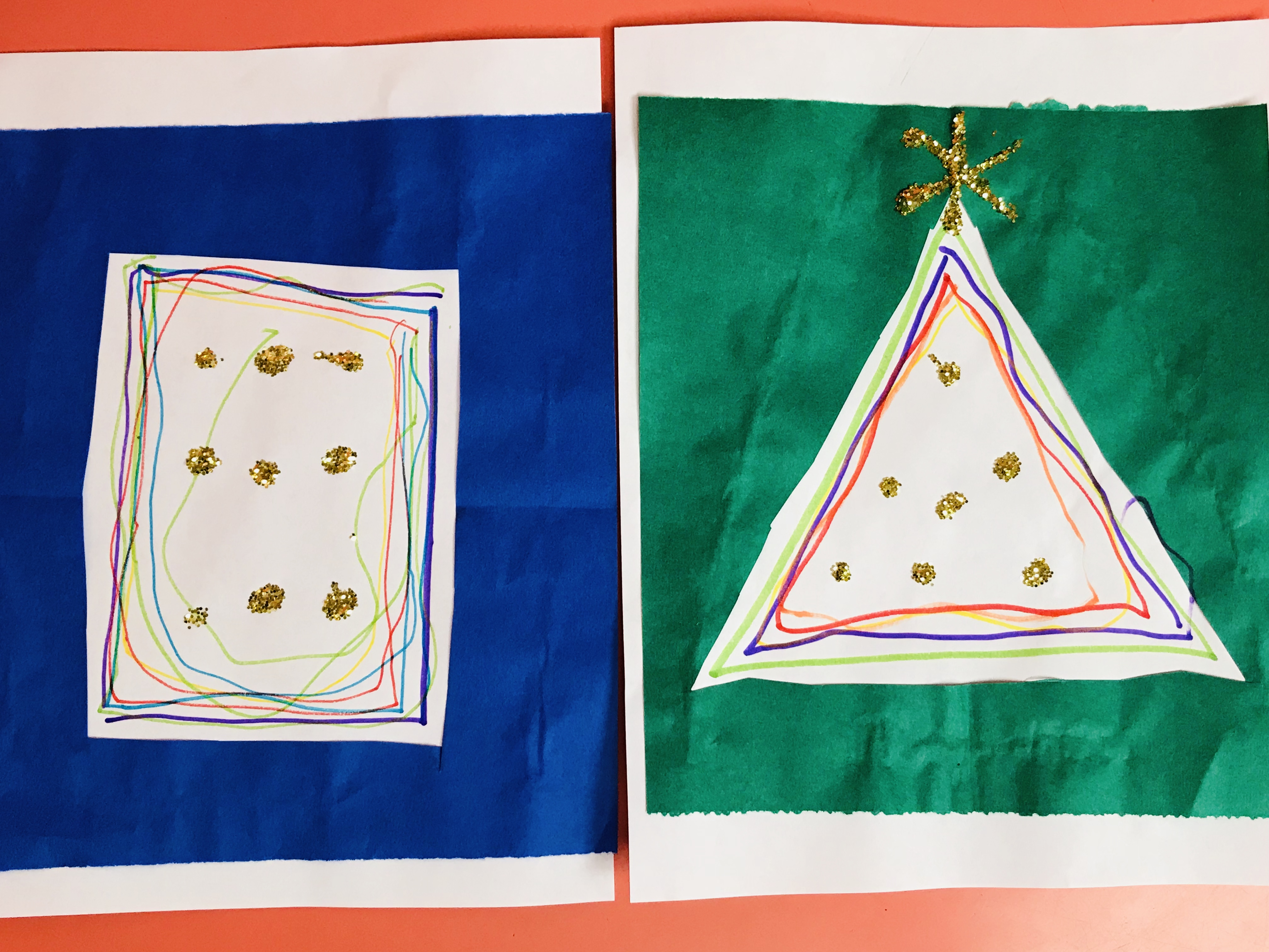 Completed paper strips Christmas tree and square