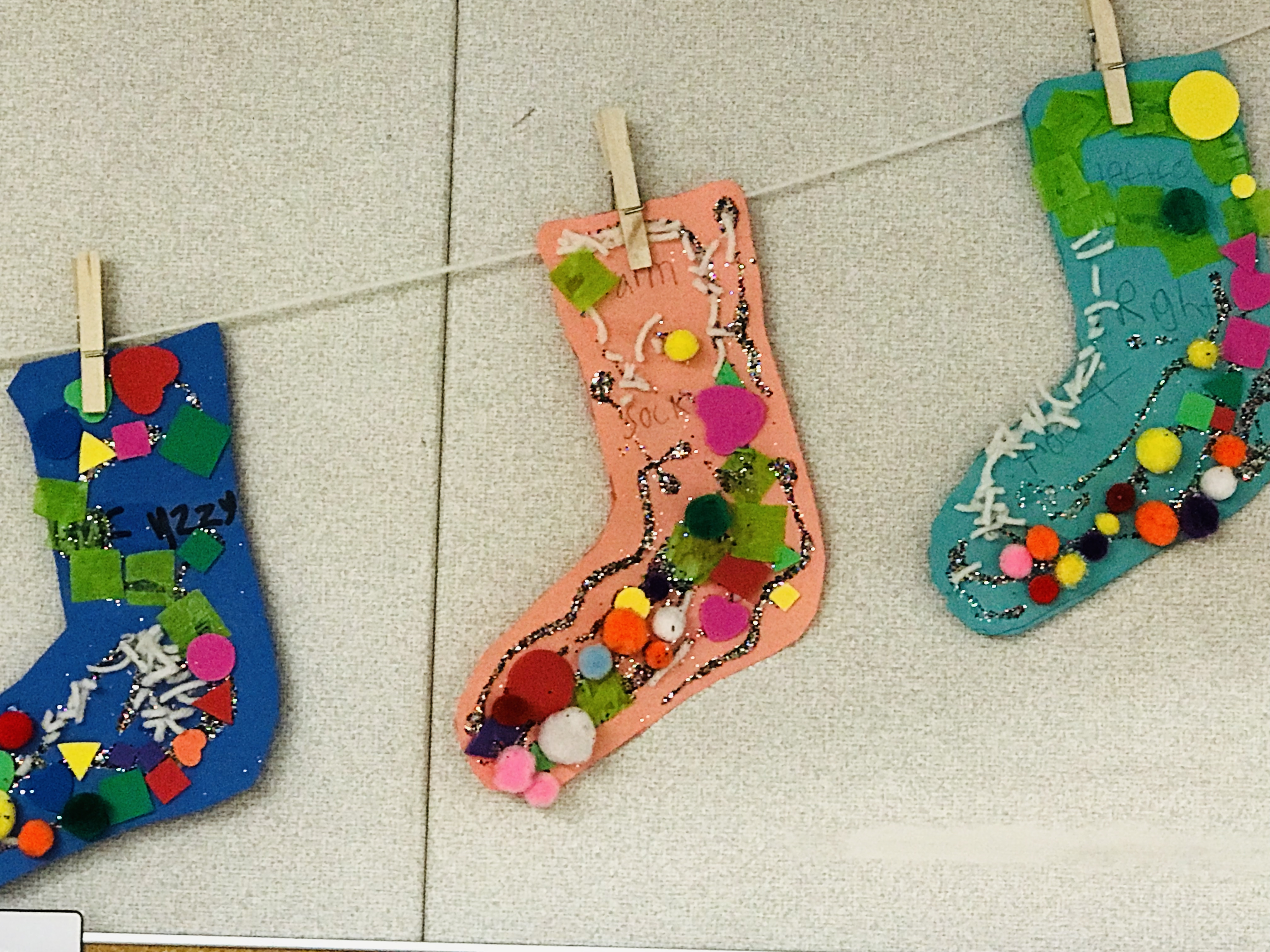 Clothes pinned colorful Dr. Seuss socks