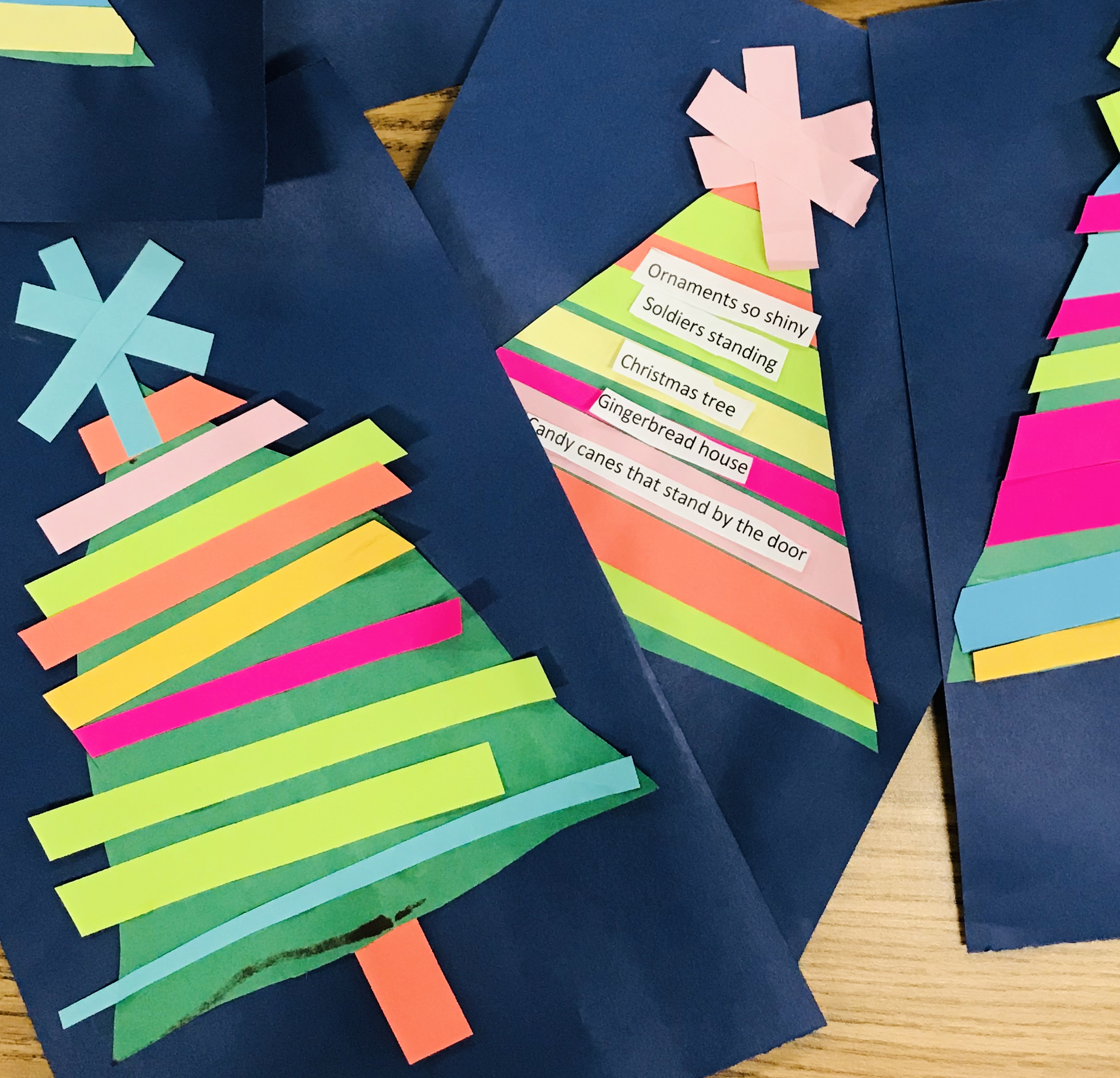 Finished paper Christmas trees
