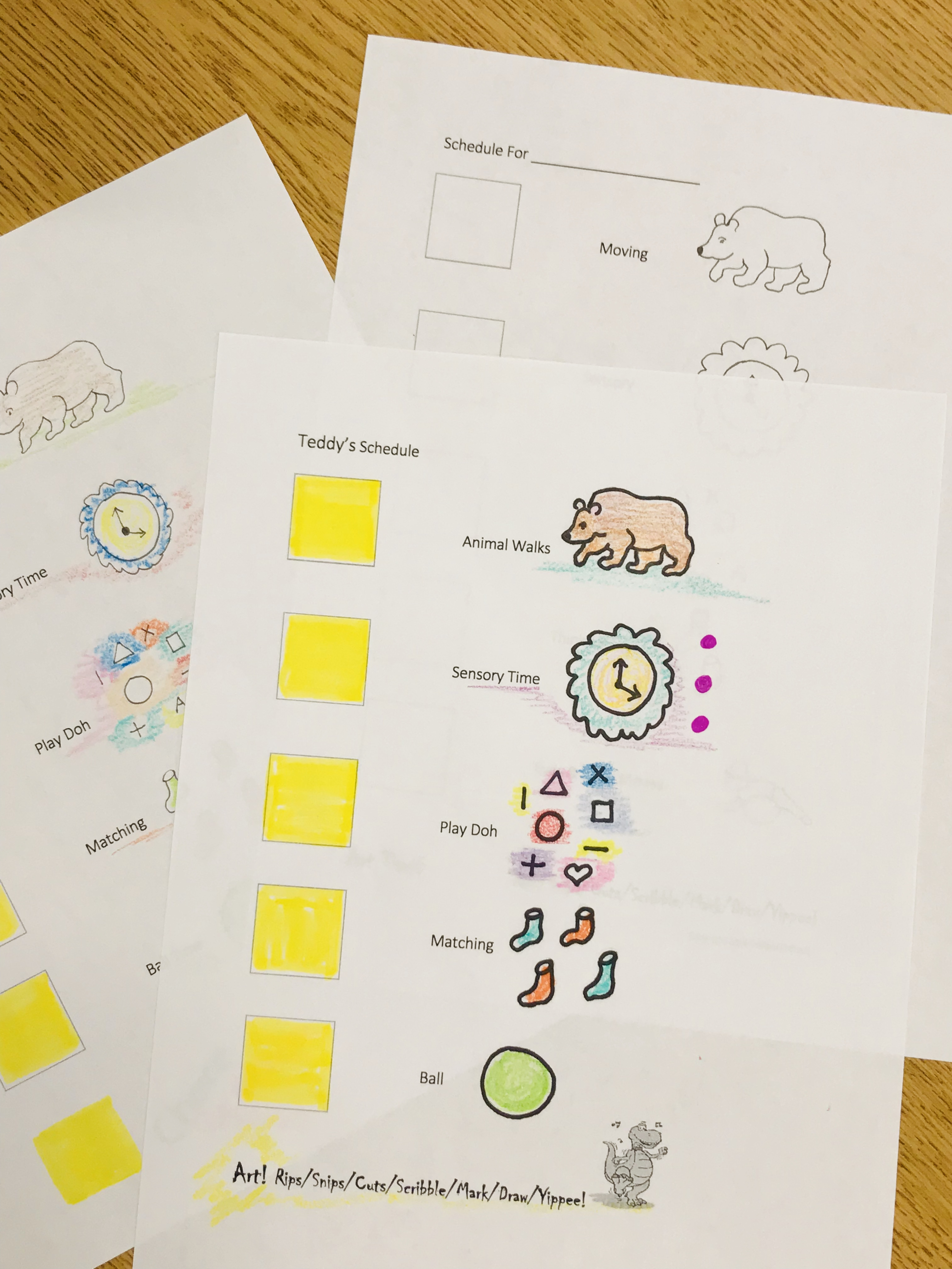Sheets with different items, animals, and shapes