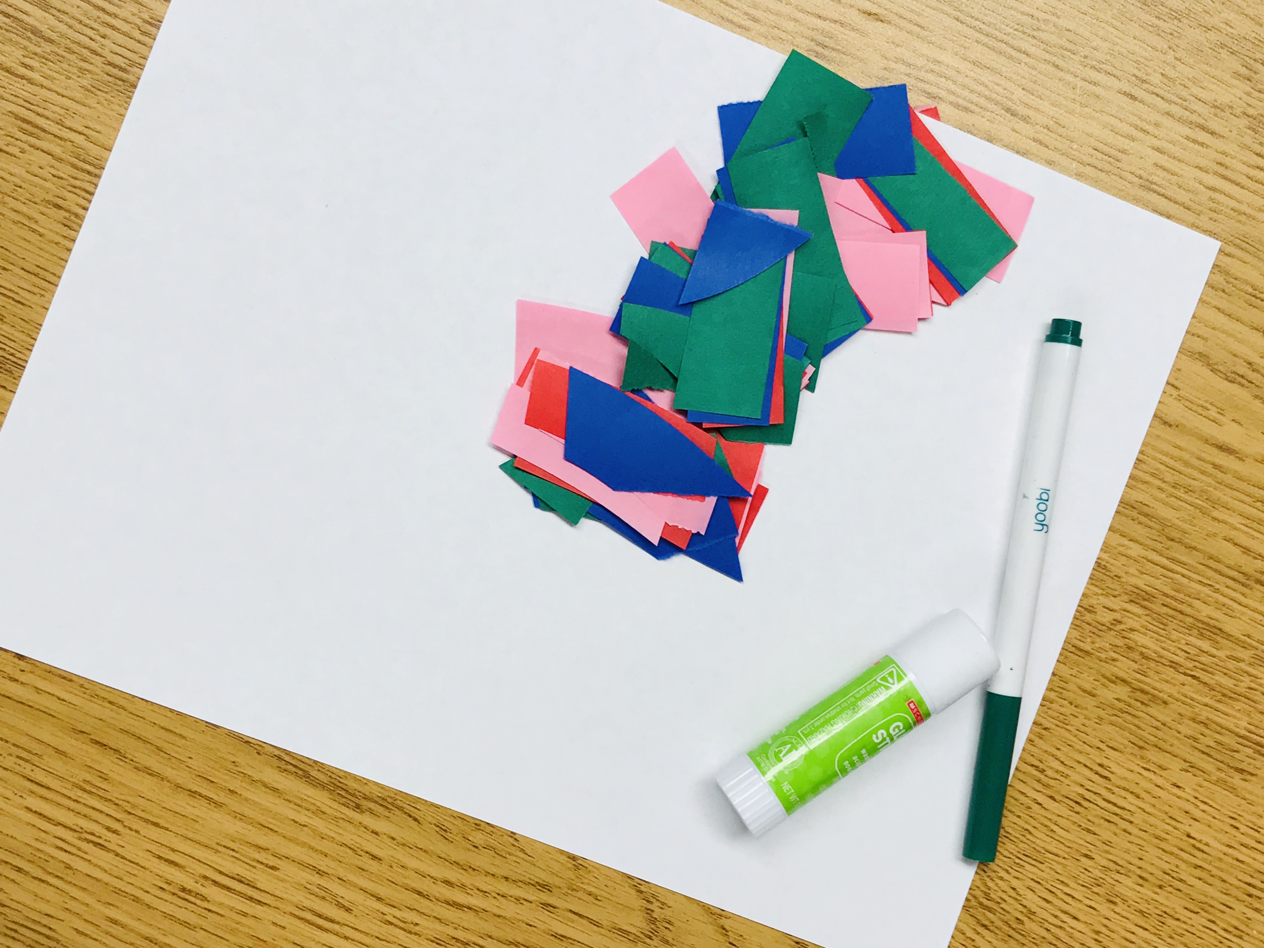 Paper squares, sheet and glue