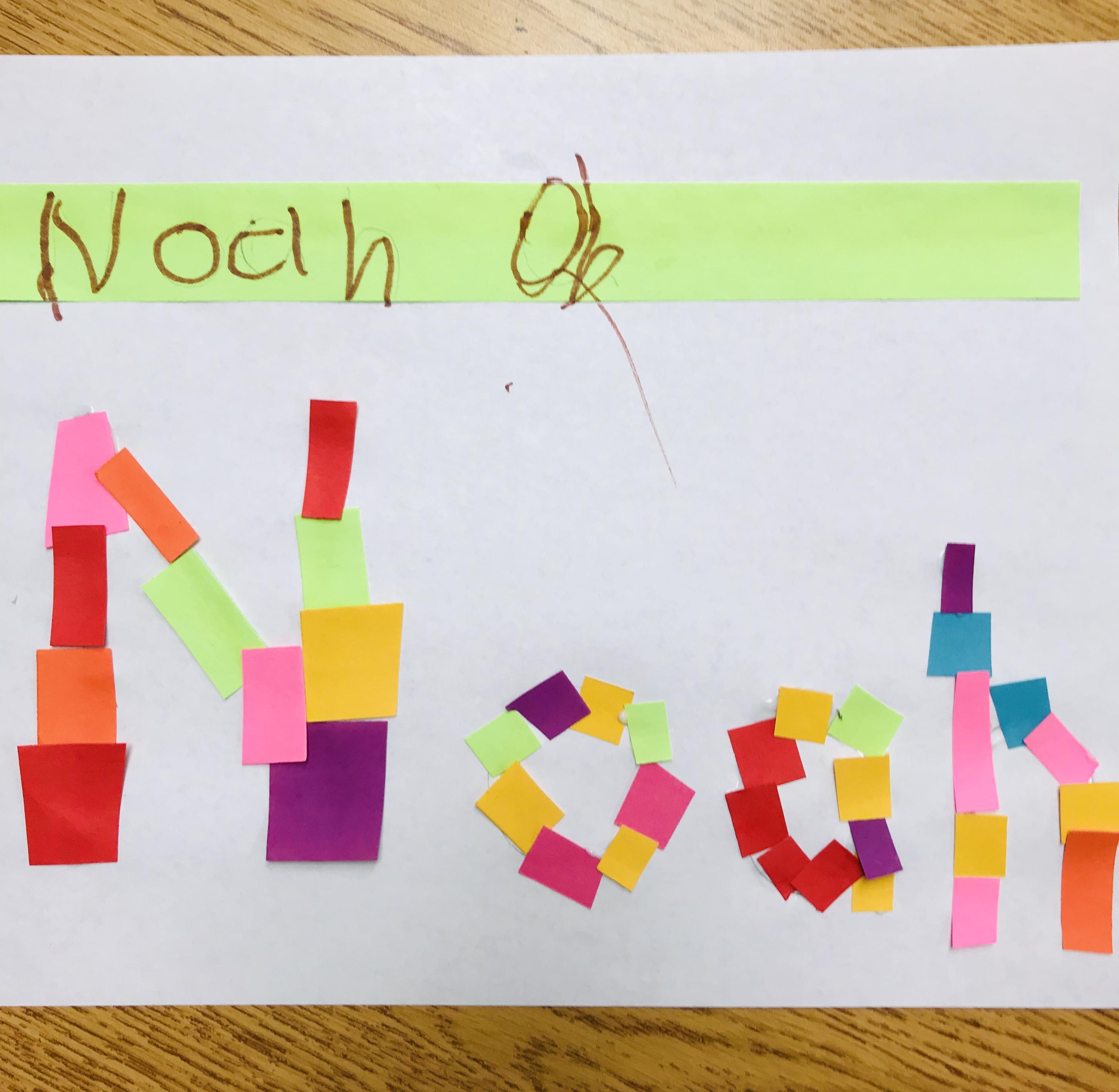 Paper strips spelling Noah