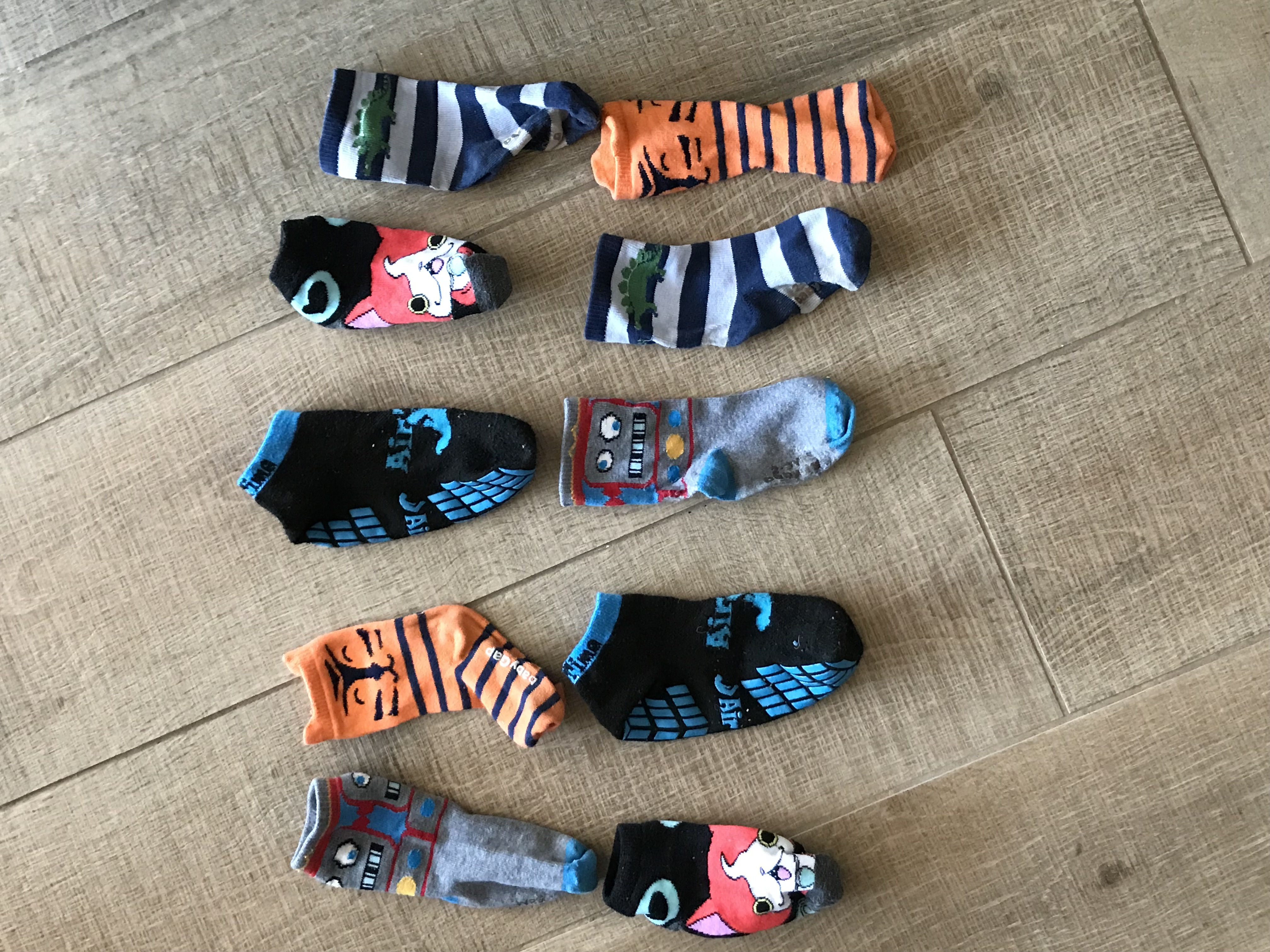 Five pairs of matching sock