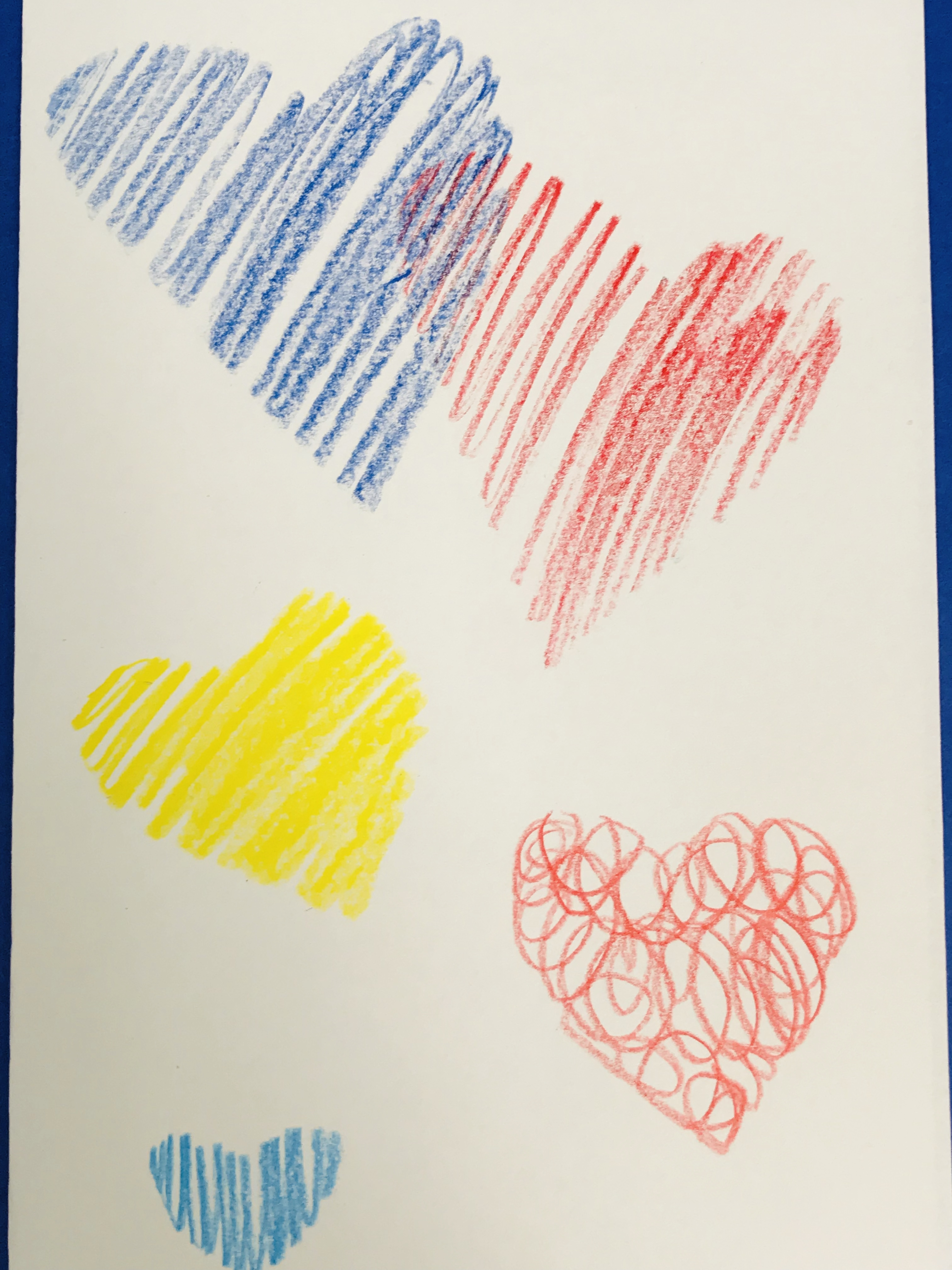 Crayon drawn hearts