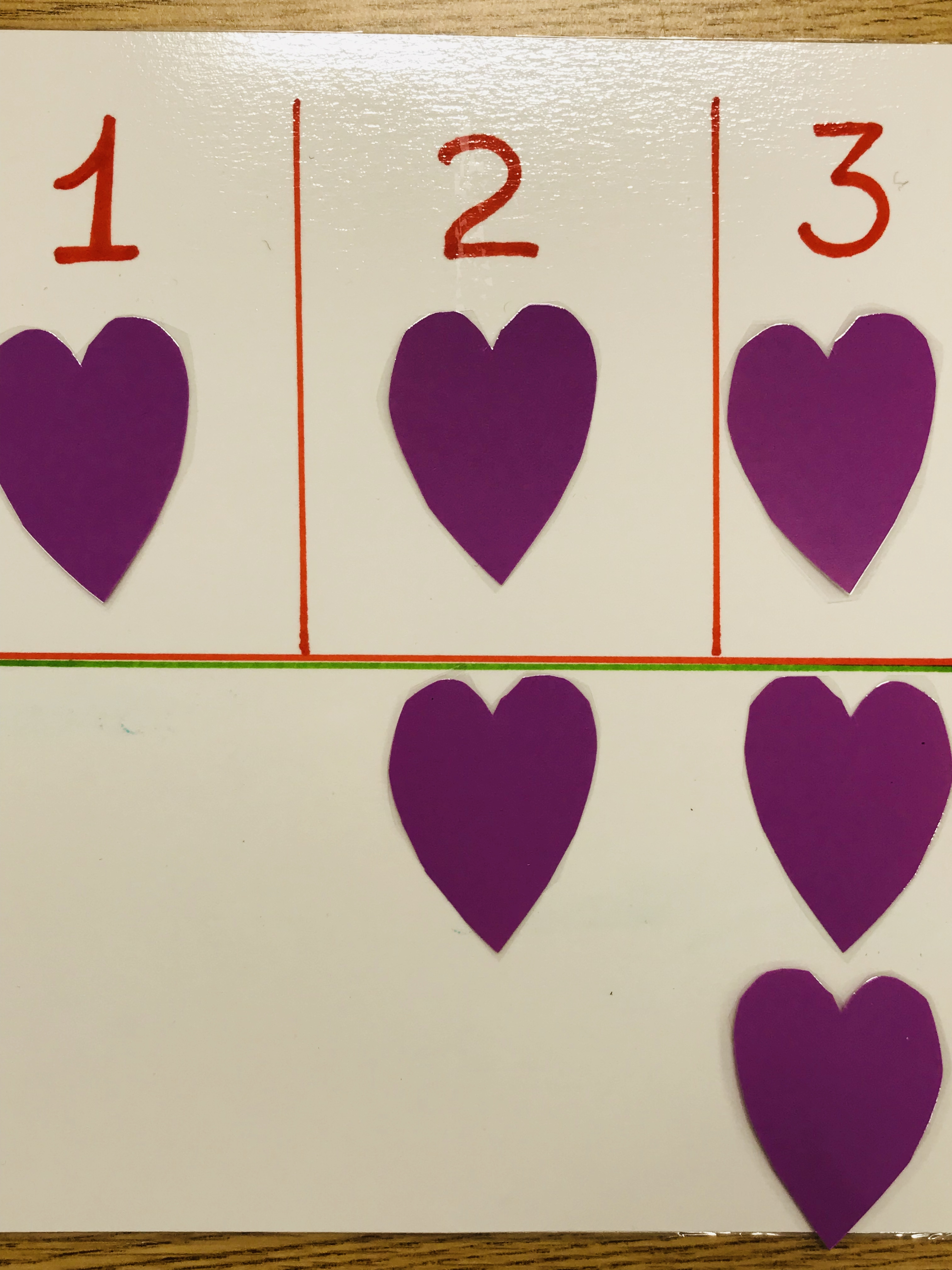 Cut out hearts matching numbers