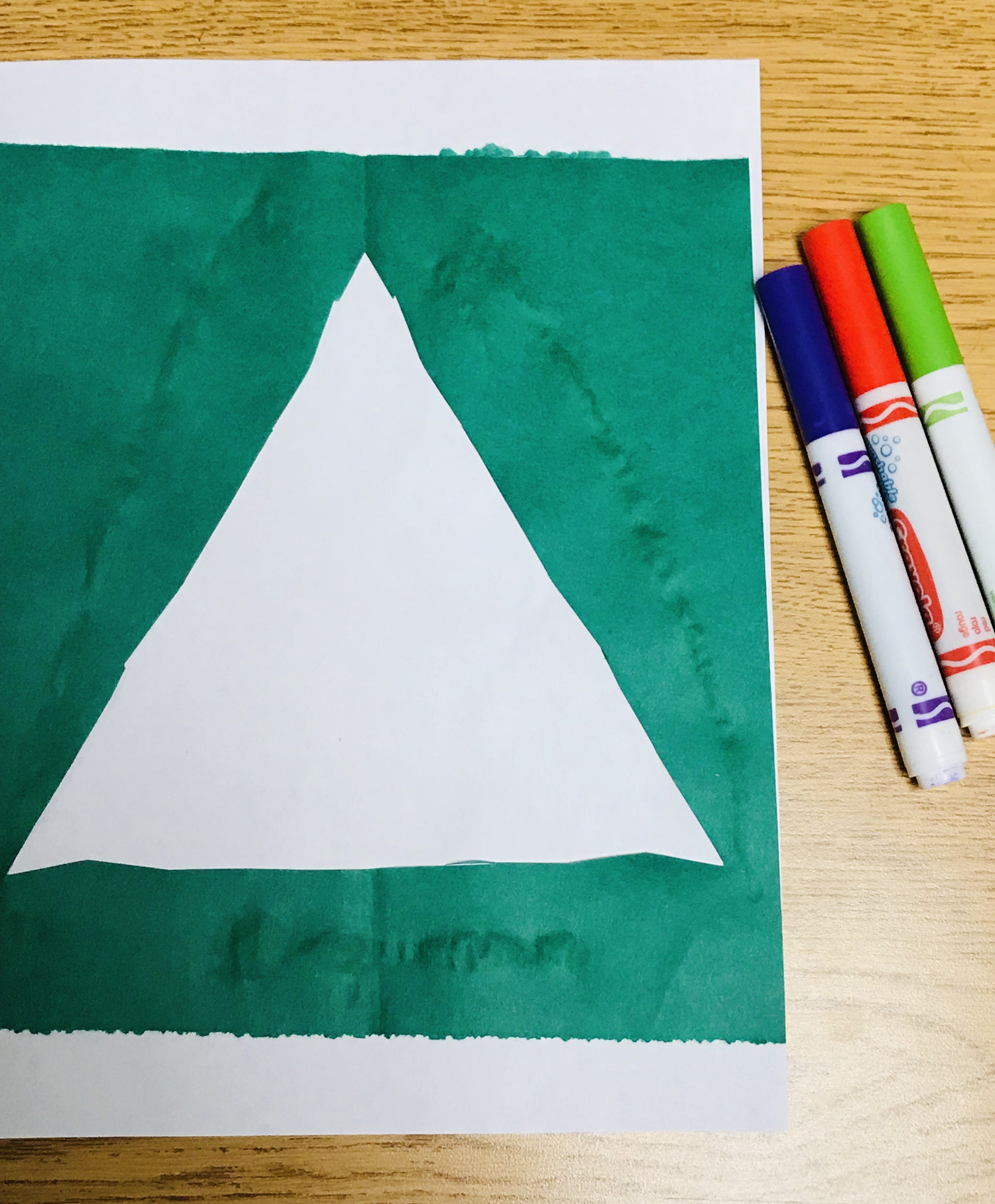 Markers and paper Christmas tree outline