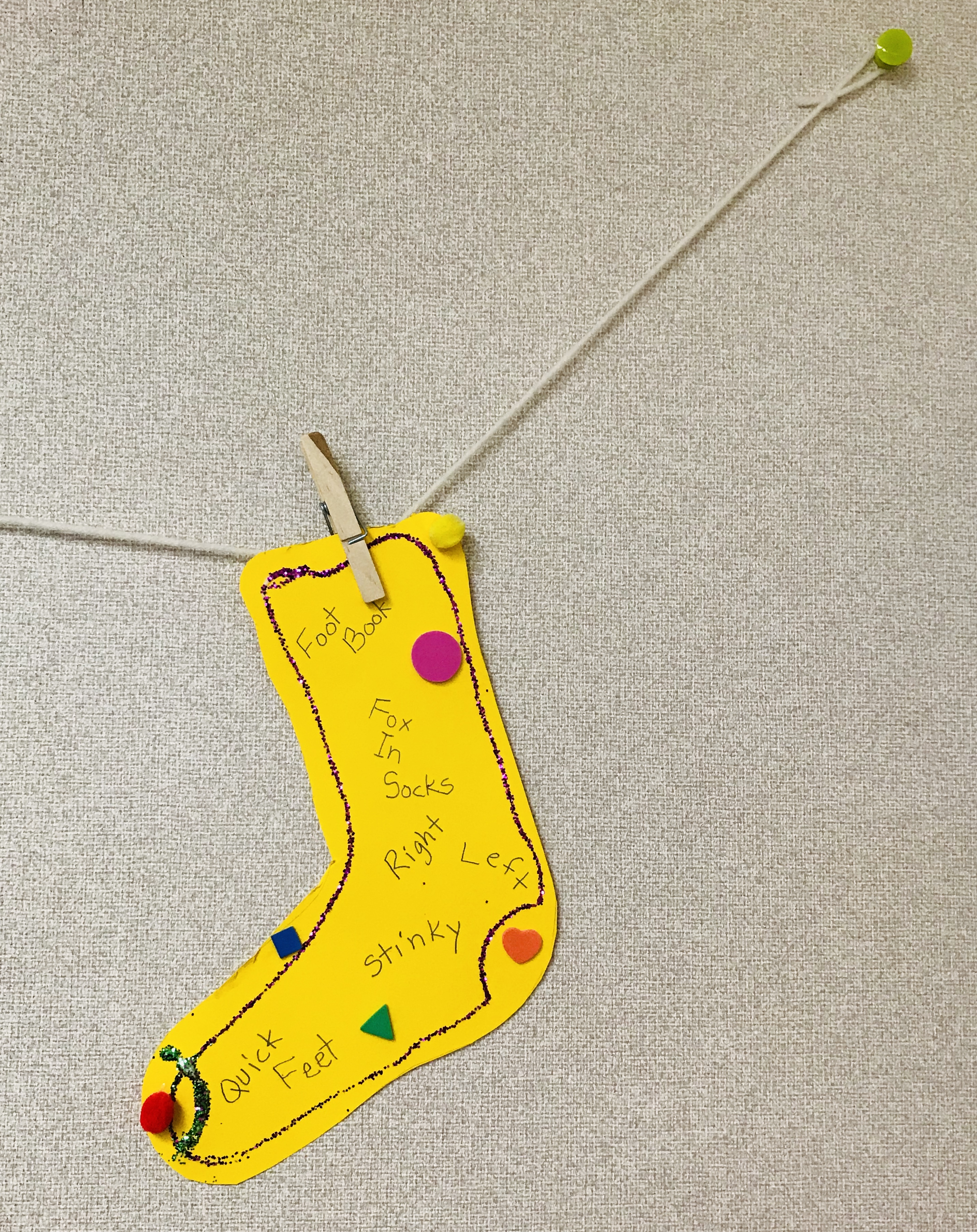 Clothes pinned Dr. Seuss sock