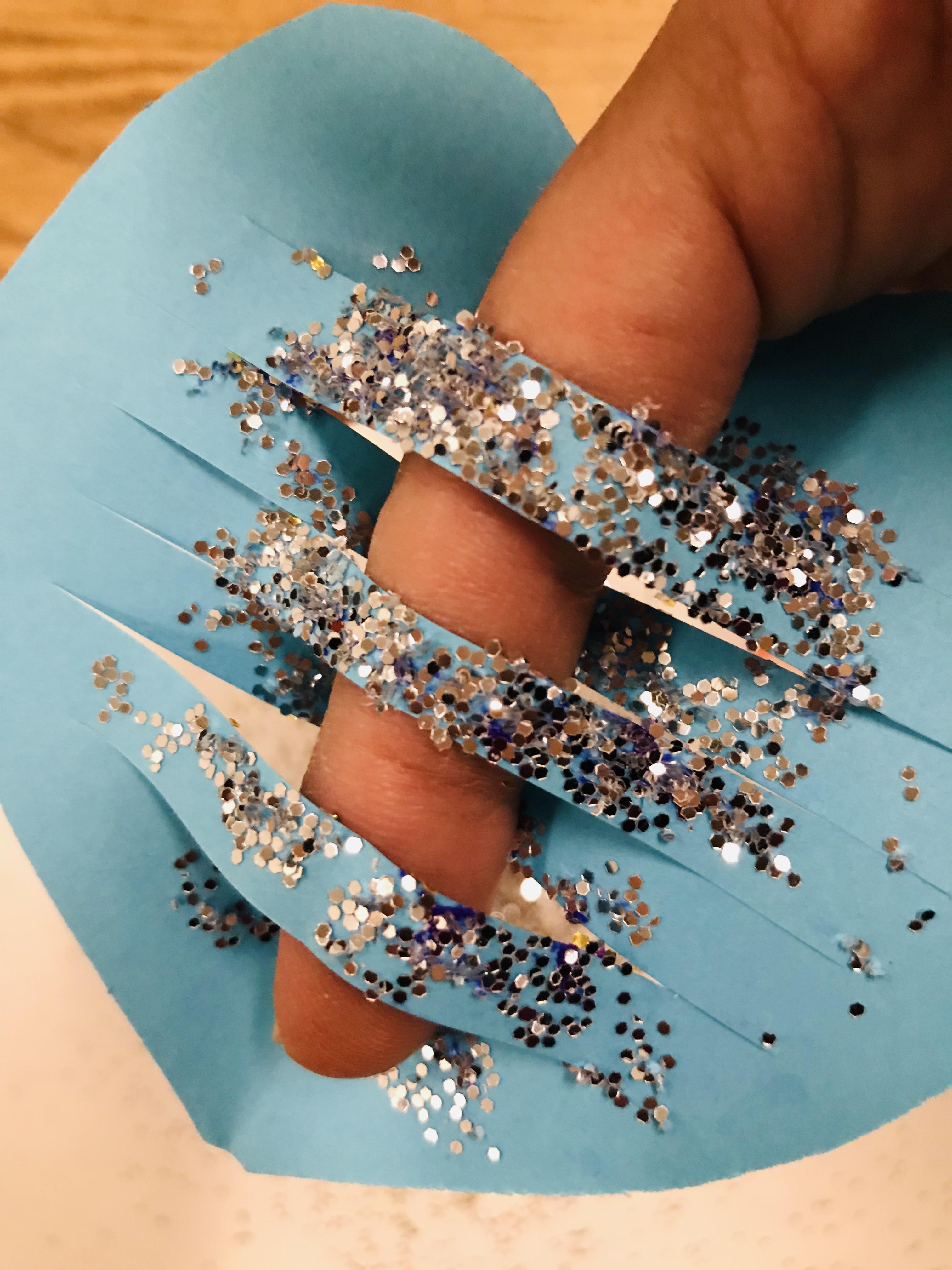 Slit glittered paper heart