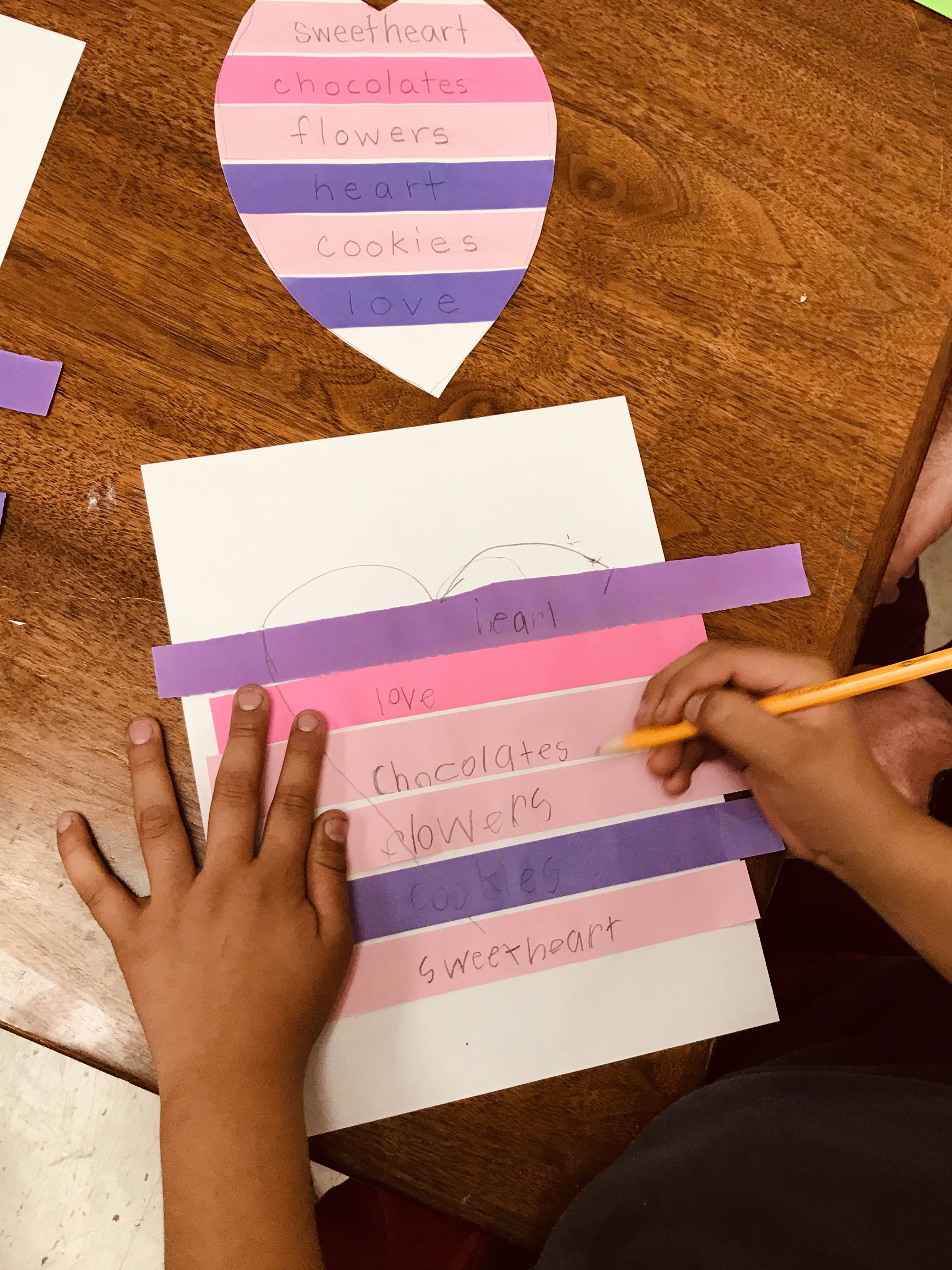Writing on glued paper strips