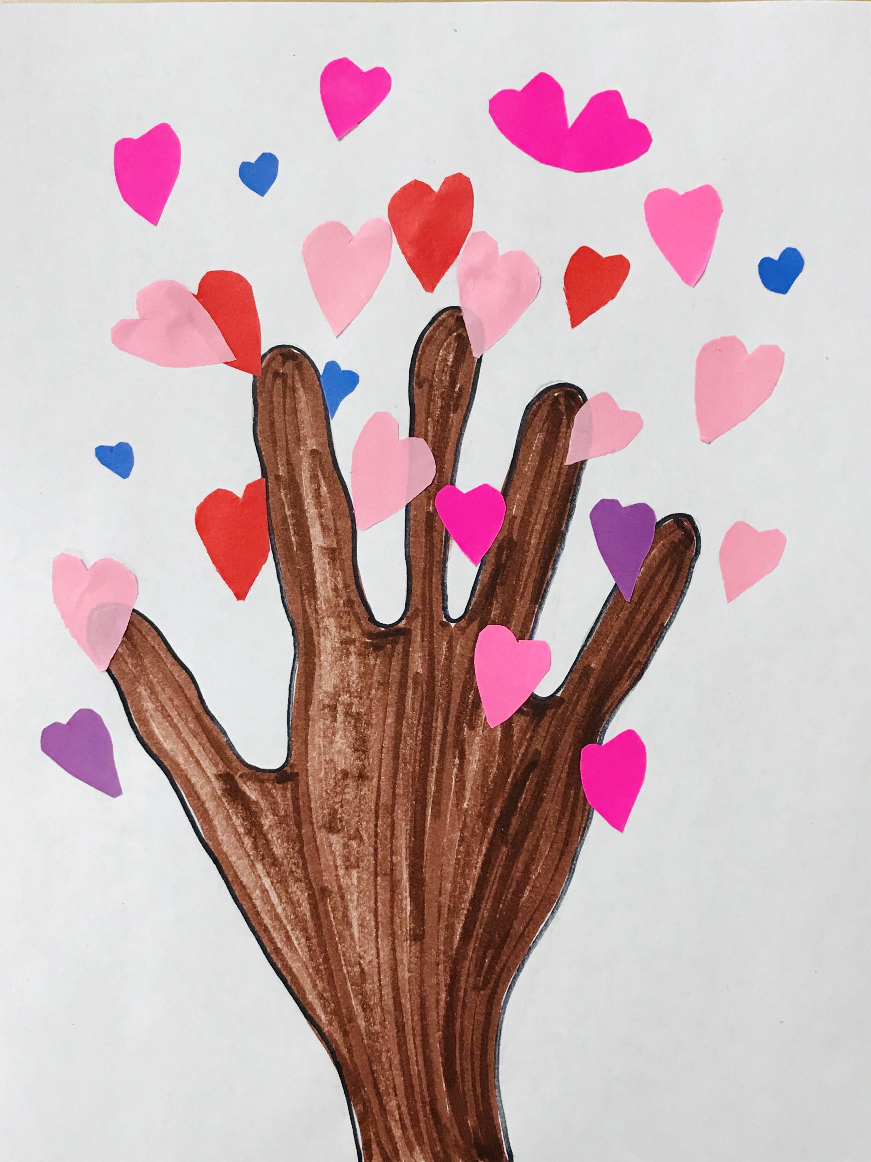 Paper heart tree on hand print