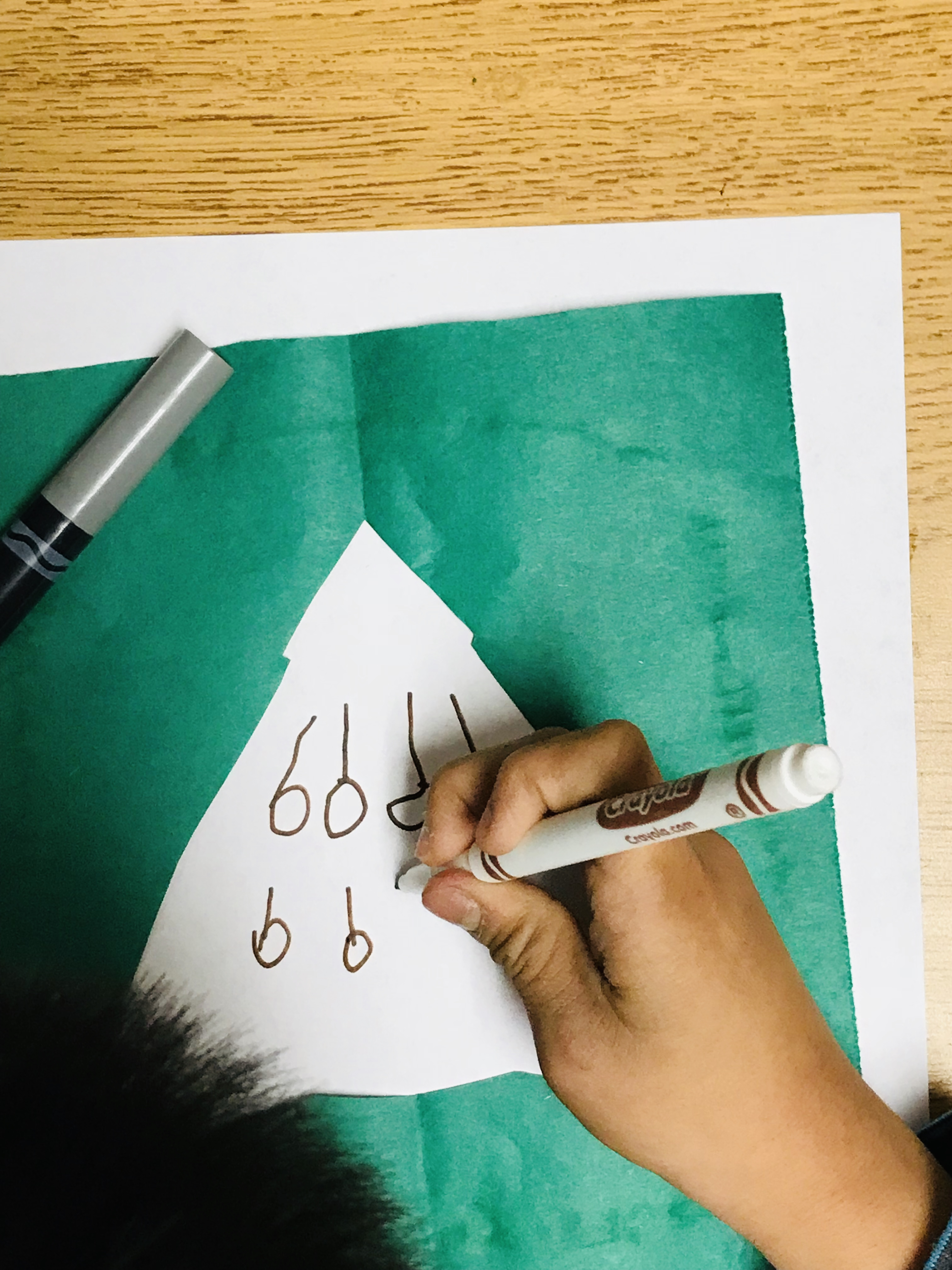 Drawing ornaments in Christmas tree outline