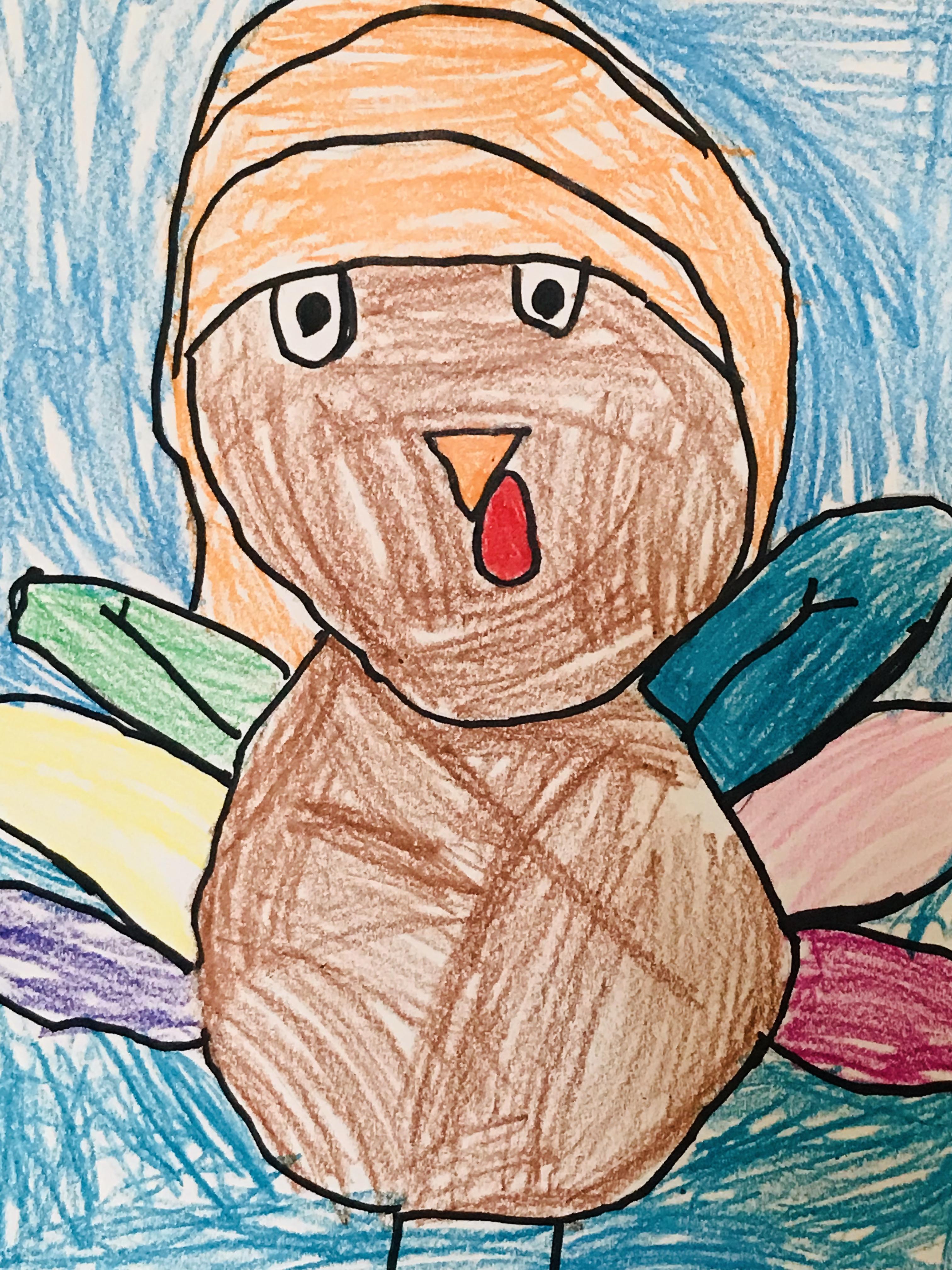 Drawn turkey with blue background