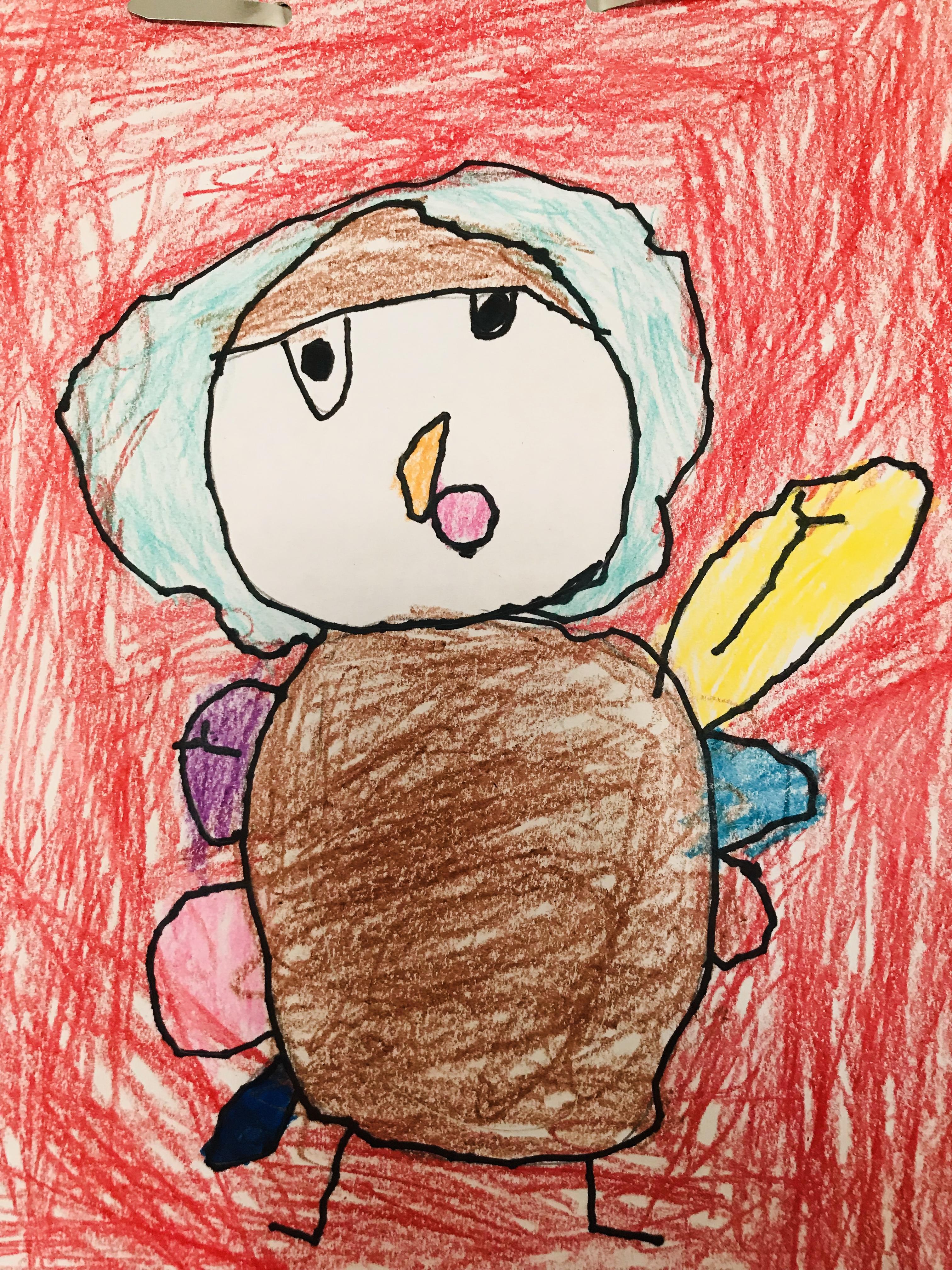 Drawn turkey with red background