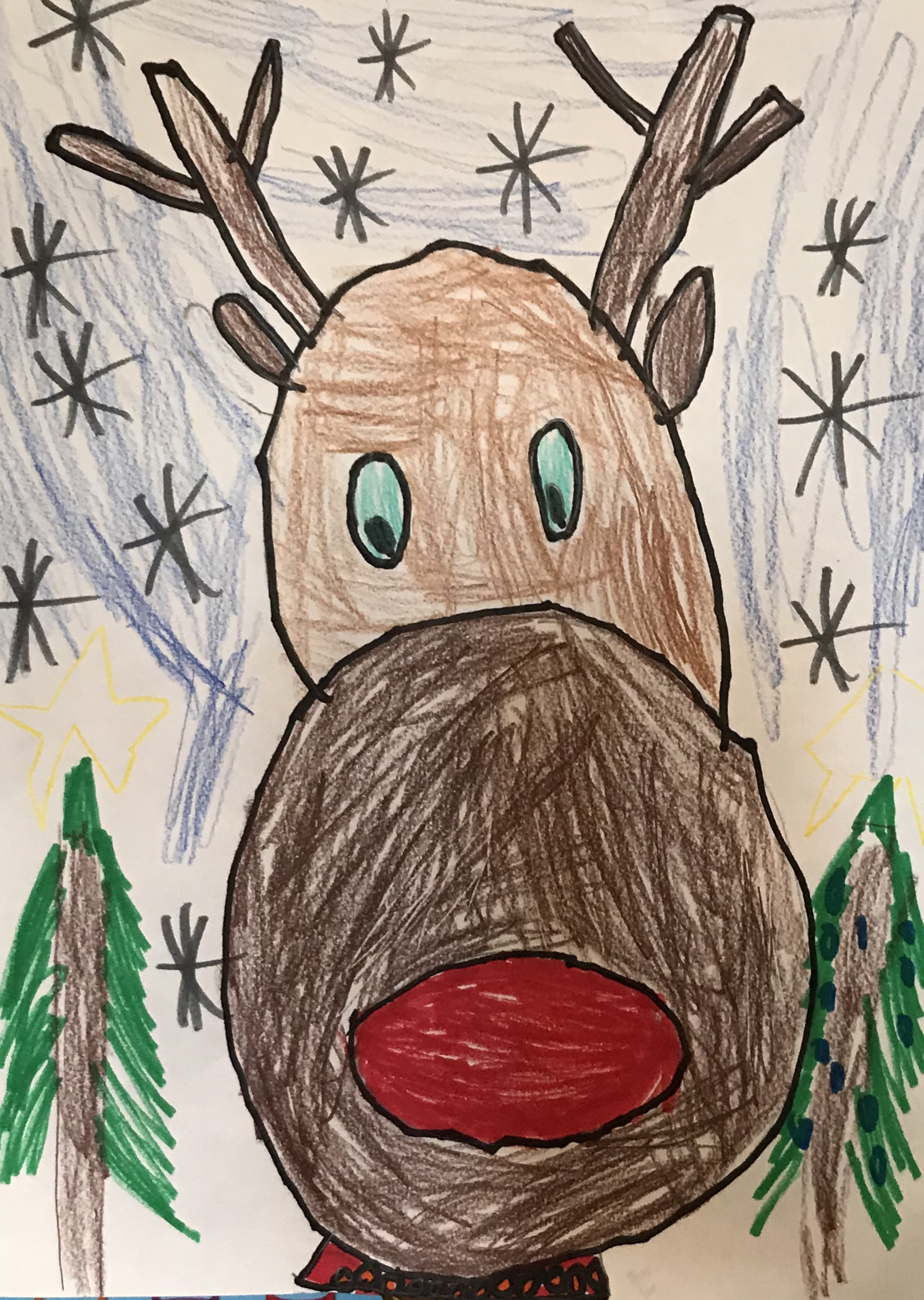 Drawn reindeer with snowy background