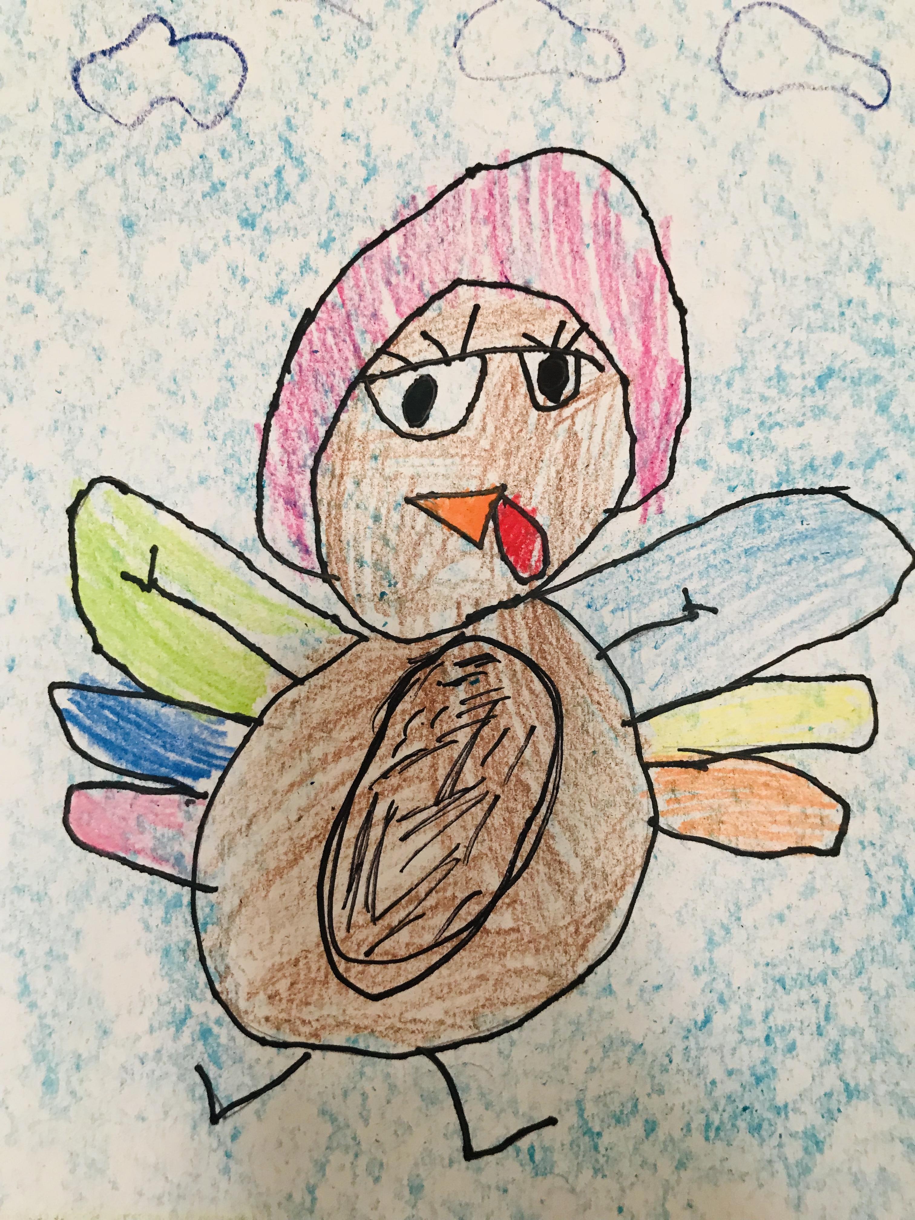 Drawn turkey flying