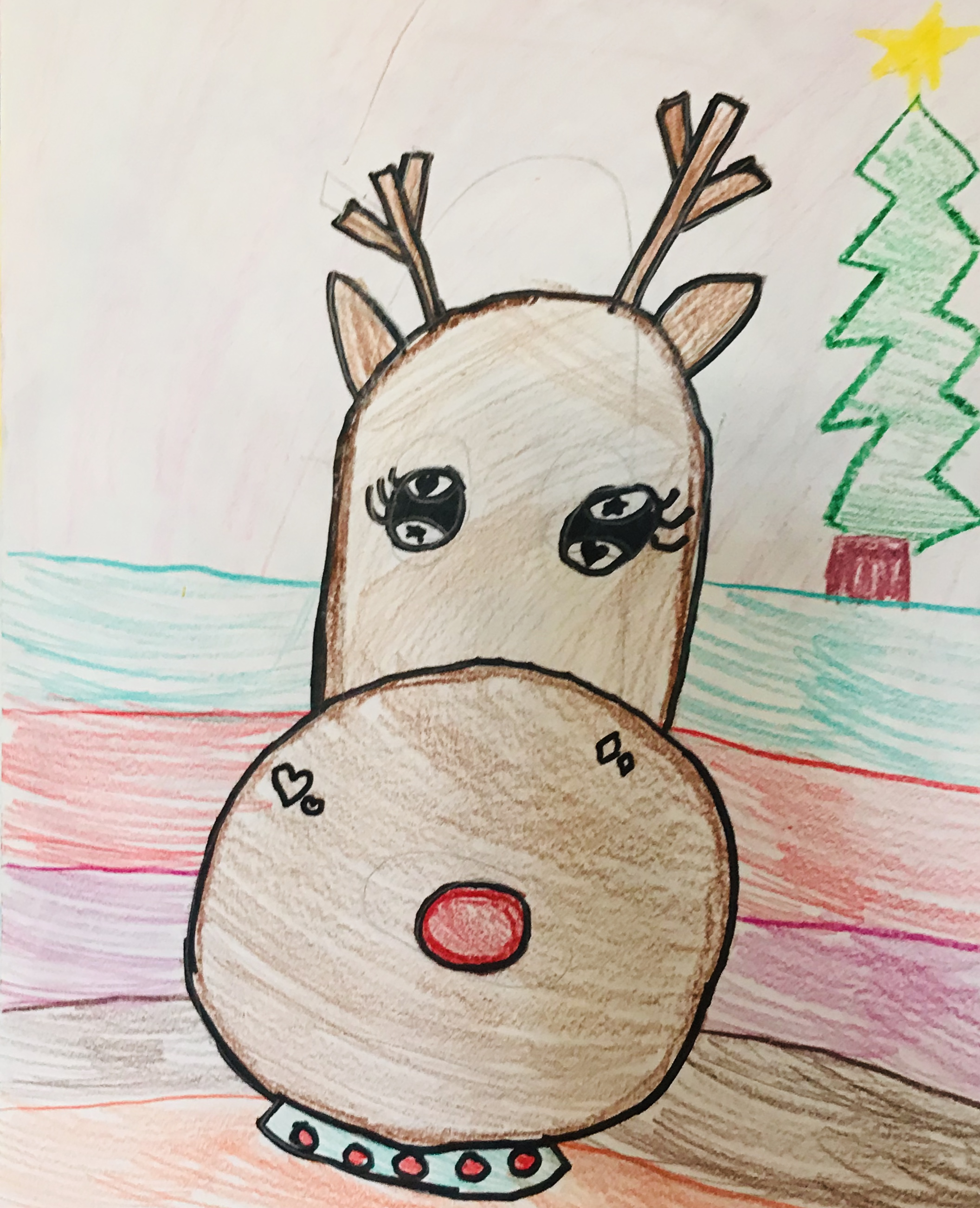 Drawn reindeer with Christmas tree background